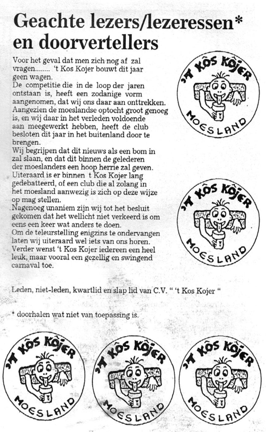 Stukje uit de carnavalskrant van 't Kos Kojer - 1993