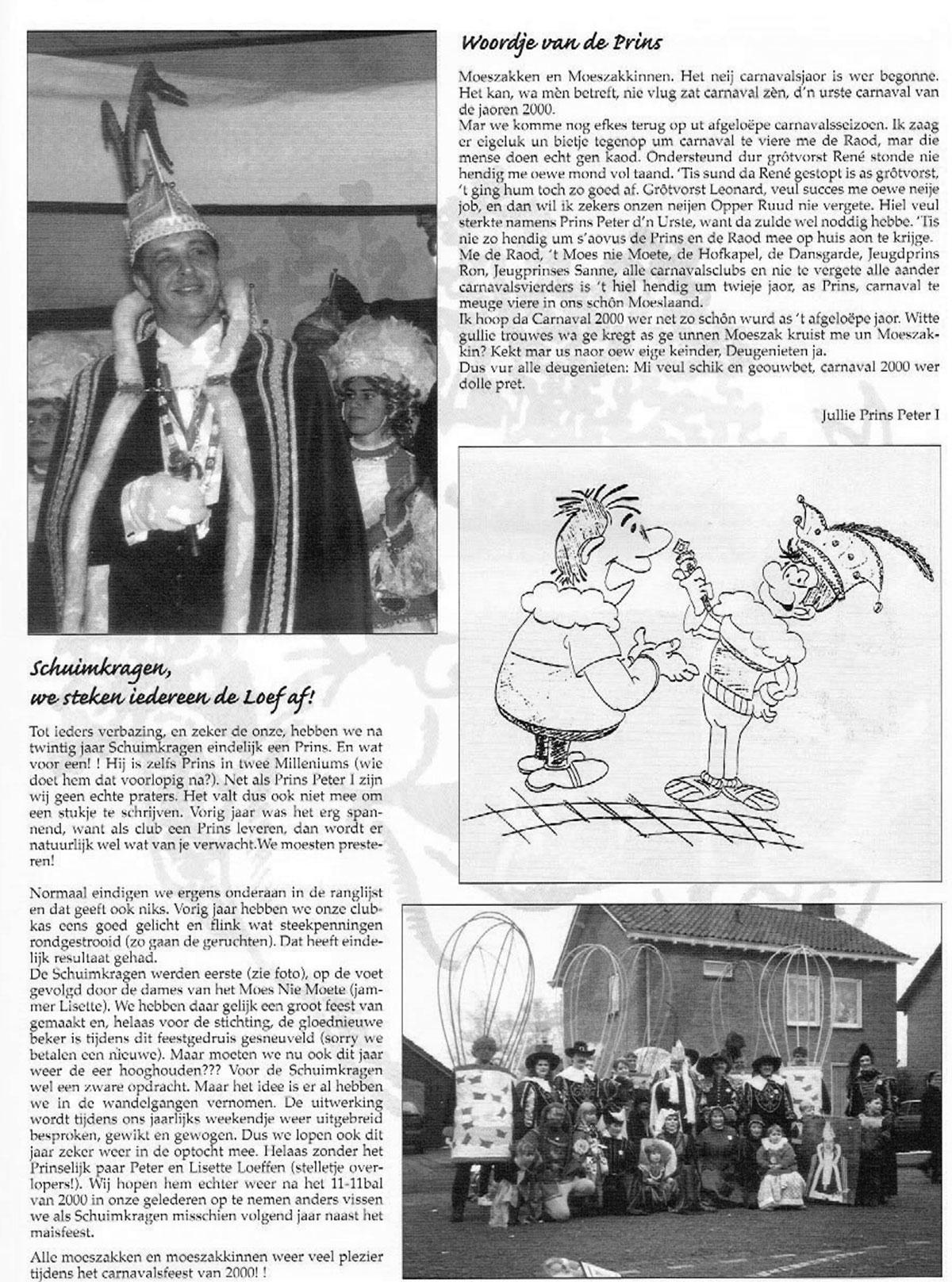 Stukje uit de carnavalskrant van de Schuimkragen - 2000