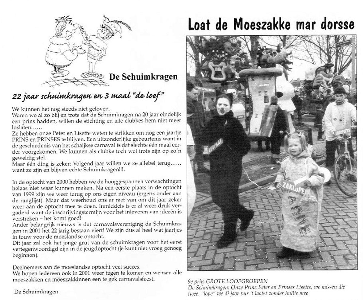 Stukje uit de carnavalskrant van de Schuimkragen - 2001
