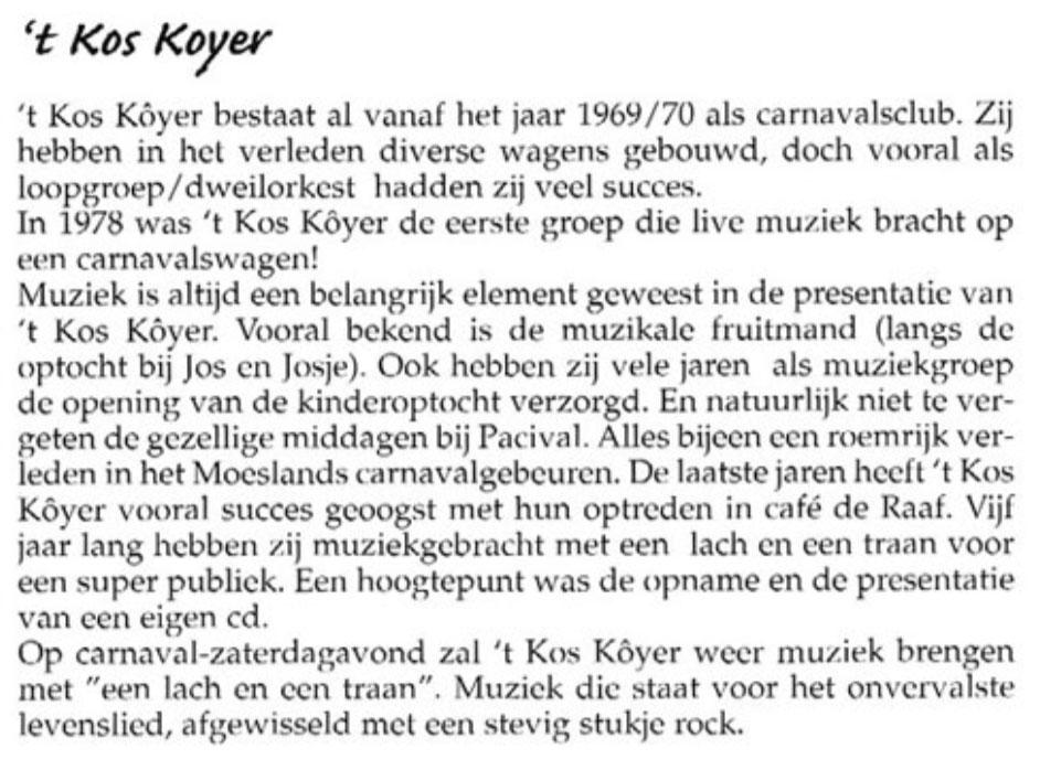 Stukje uit de carnavalskrant van 't Kos Kojer - 2002