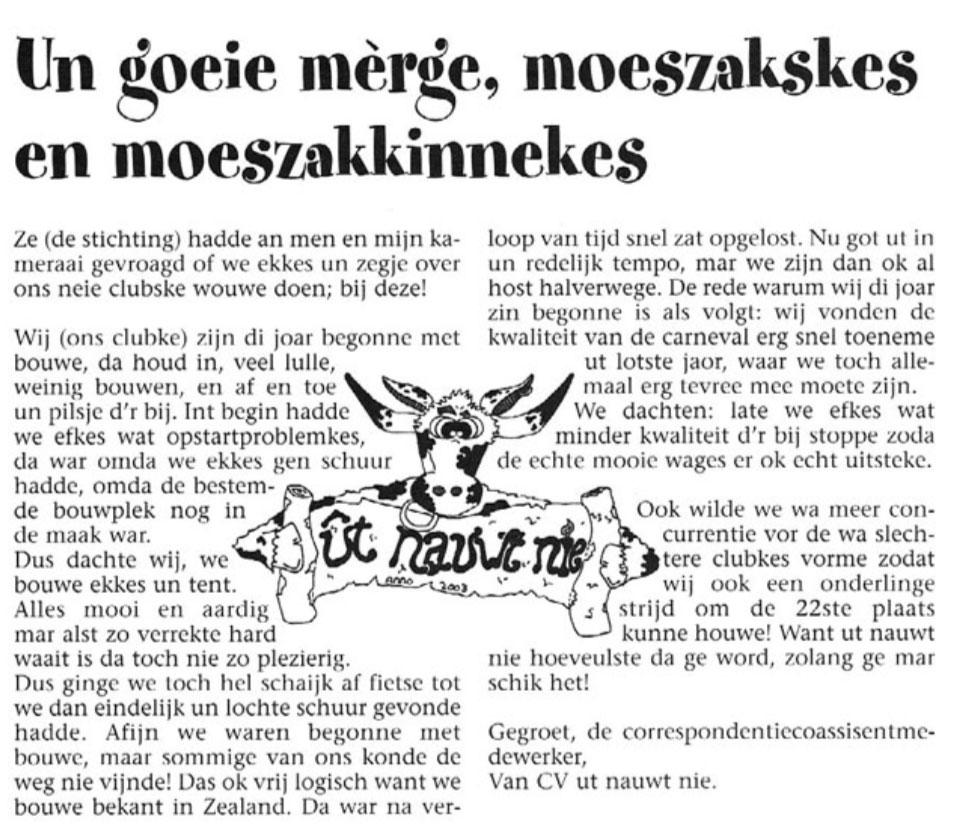 Stukje Ut Nauwt Nie in de carnavalskrant van 2004