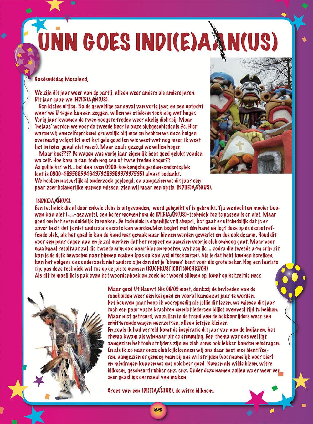 Stukje Ut Nauwt Nie in de carnavalskrant van 2009