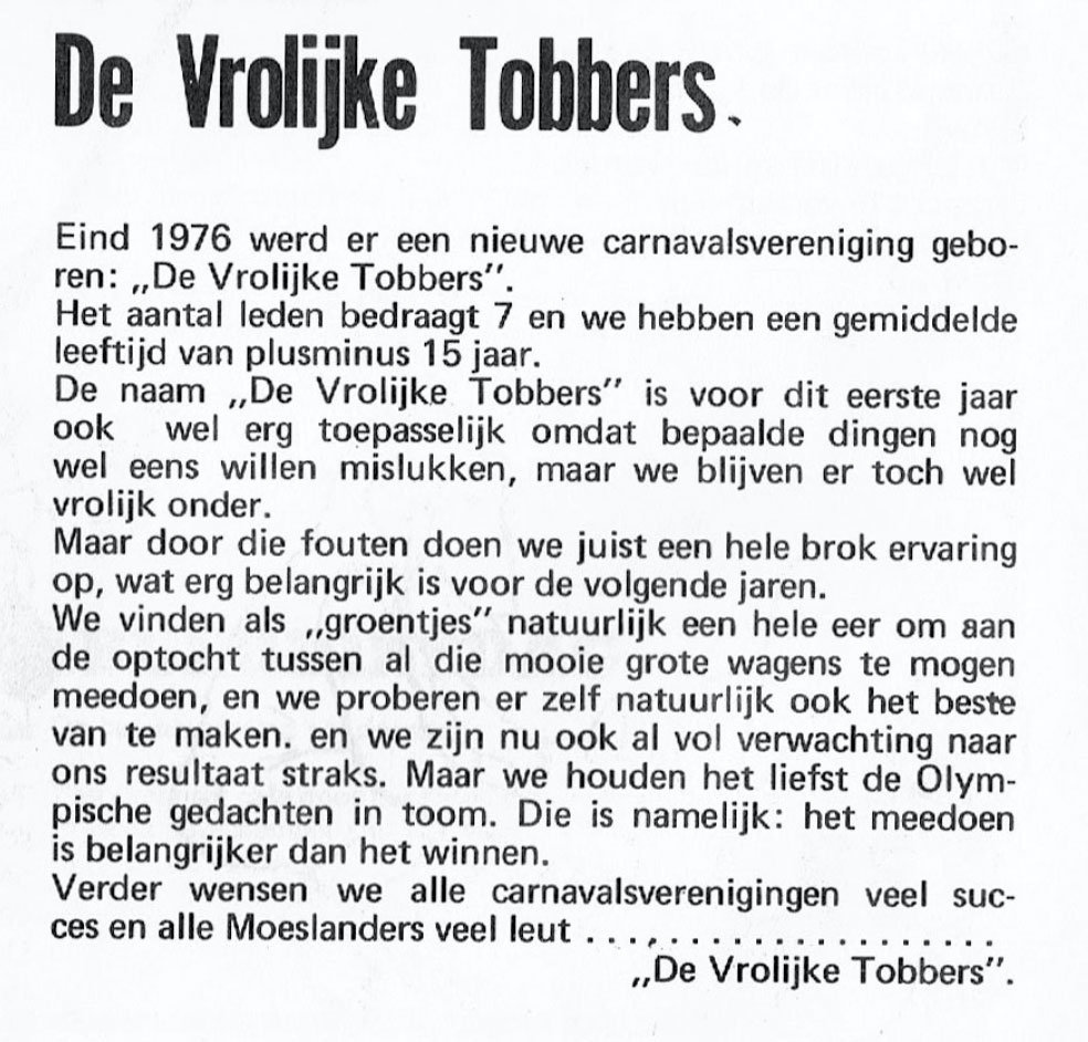 Stukje uit de carnavalskrant van De Vrolukke Tobbers - 1977