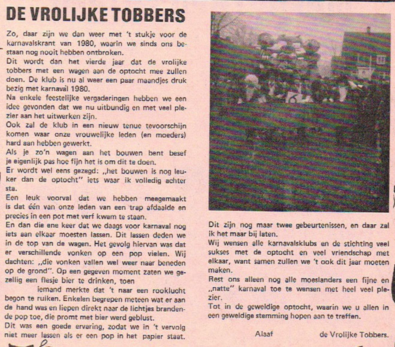 Stukje uit de carnavalskrant van De Vrolukke Tobbers - 1980