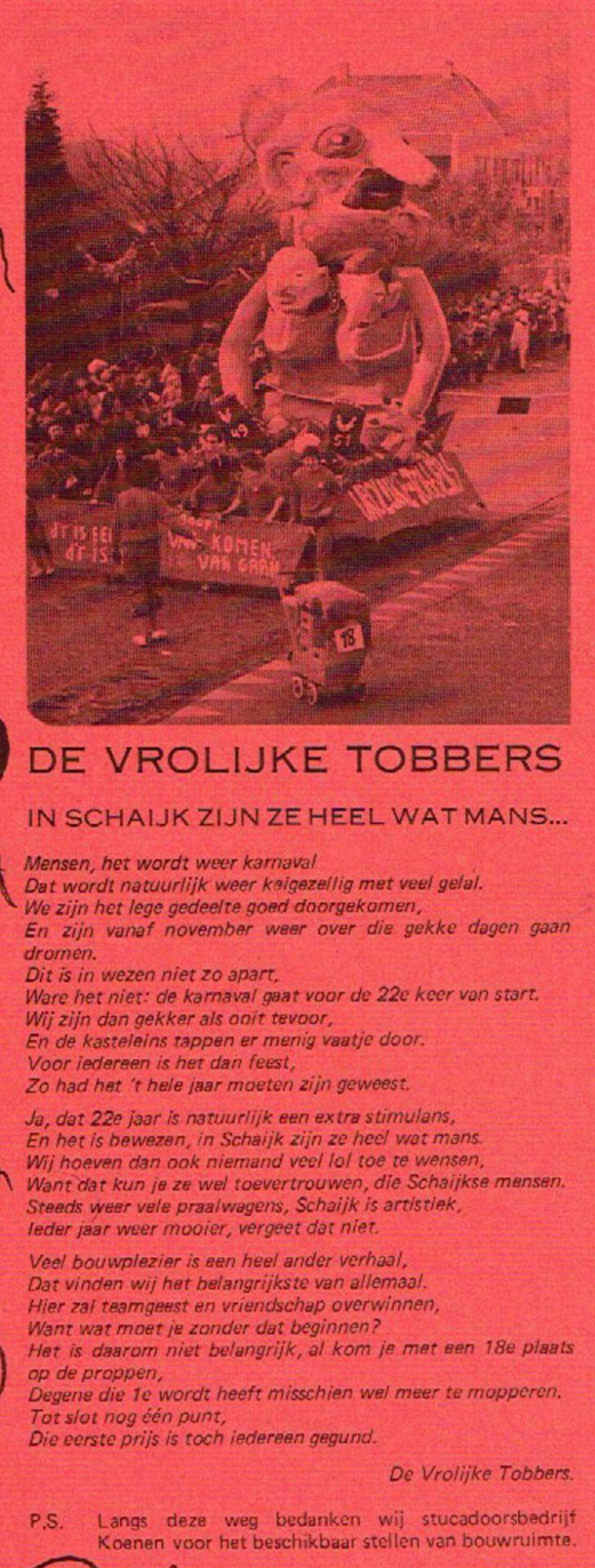 Stukje uit de carnavalskrant van De Vrolukke Tobbers - 1981