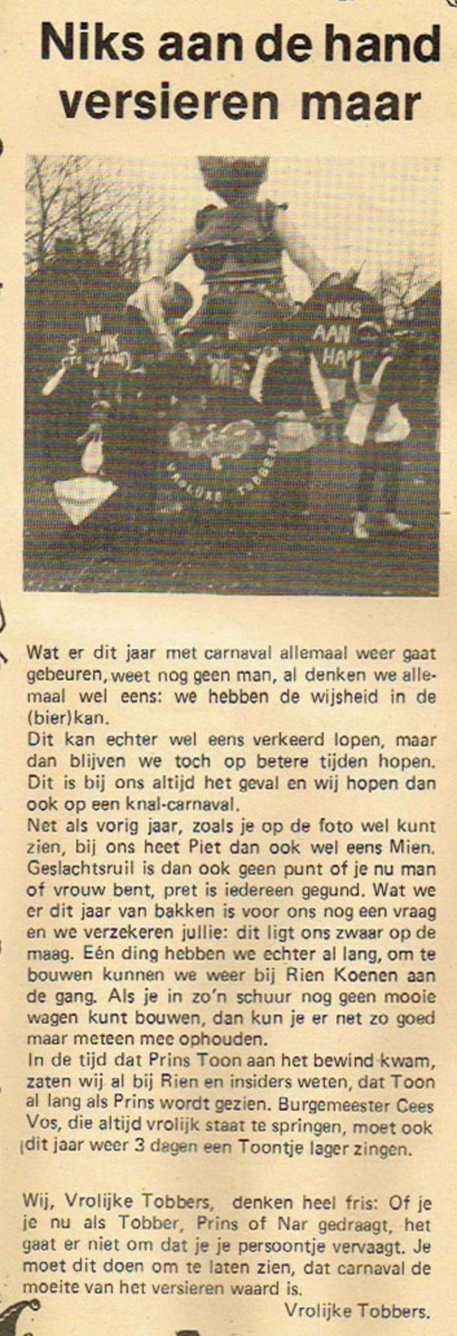 Stukje uit de carnavalskrant van De Vrolukke Tobbers - 1982