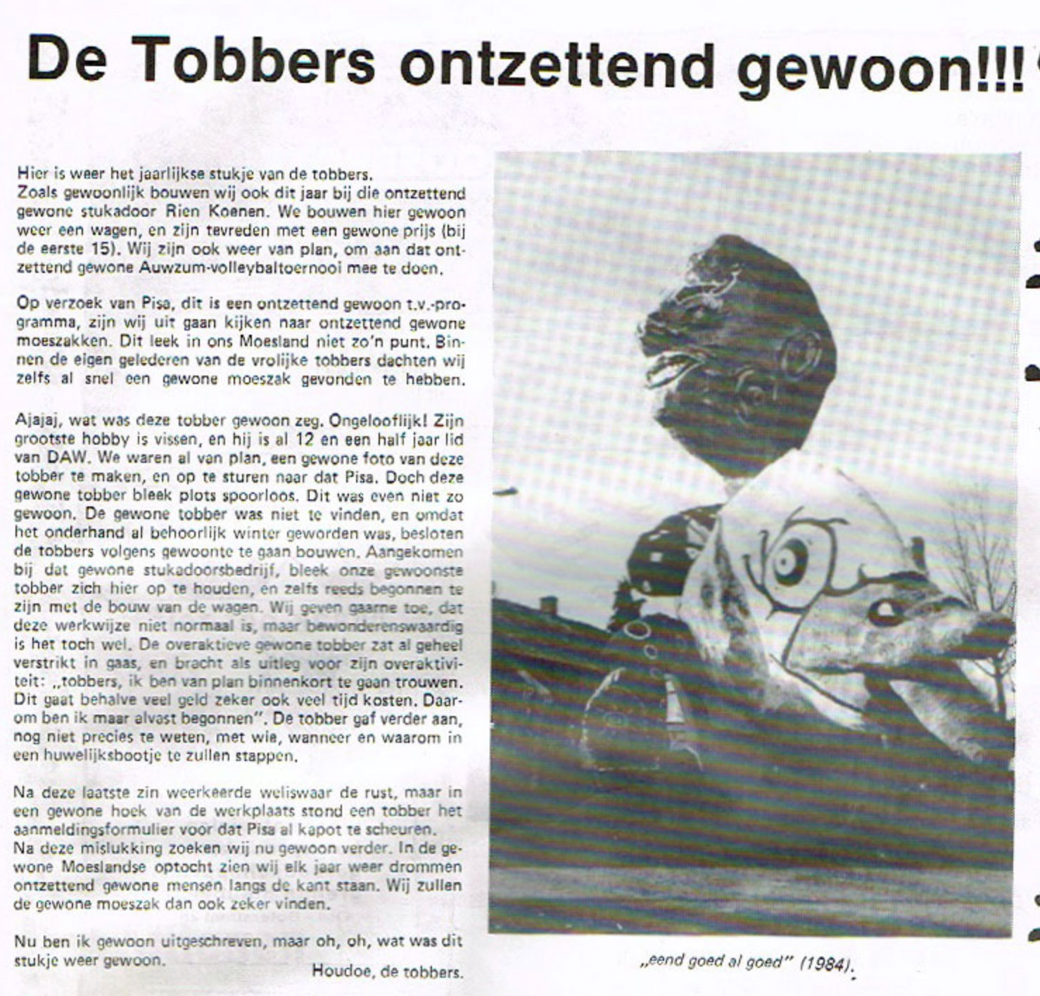 Stukje uit de carnavalskrant van De Vrolukke Tobbers - 1984