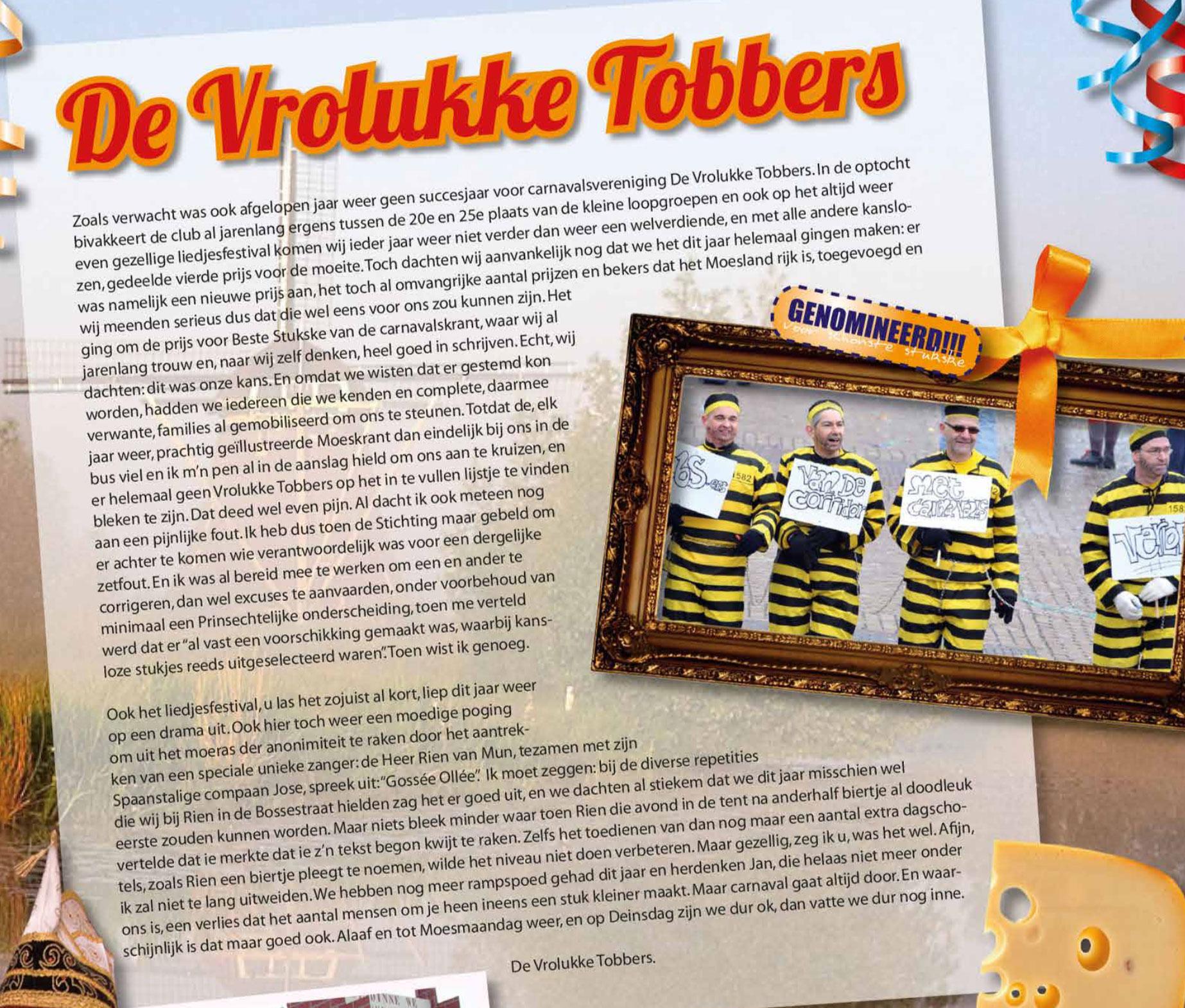 Stukje uit de carnavalskrant van De Vrolukke Tobbers - 2011