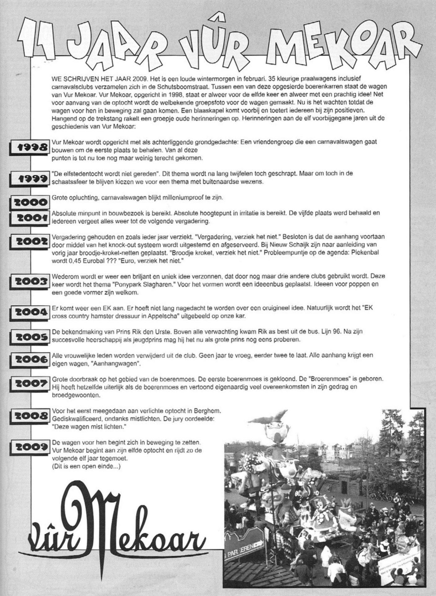 Stukje uit de carnavalskrant van Vur Mekoar - 2002