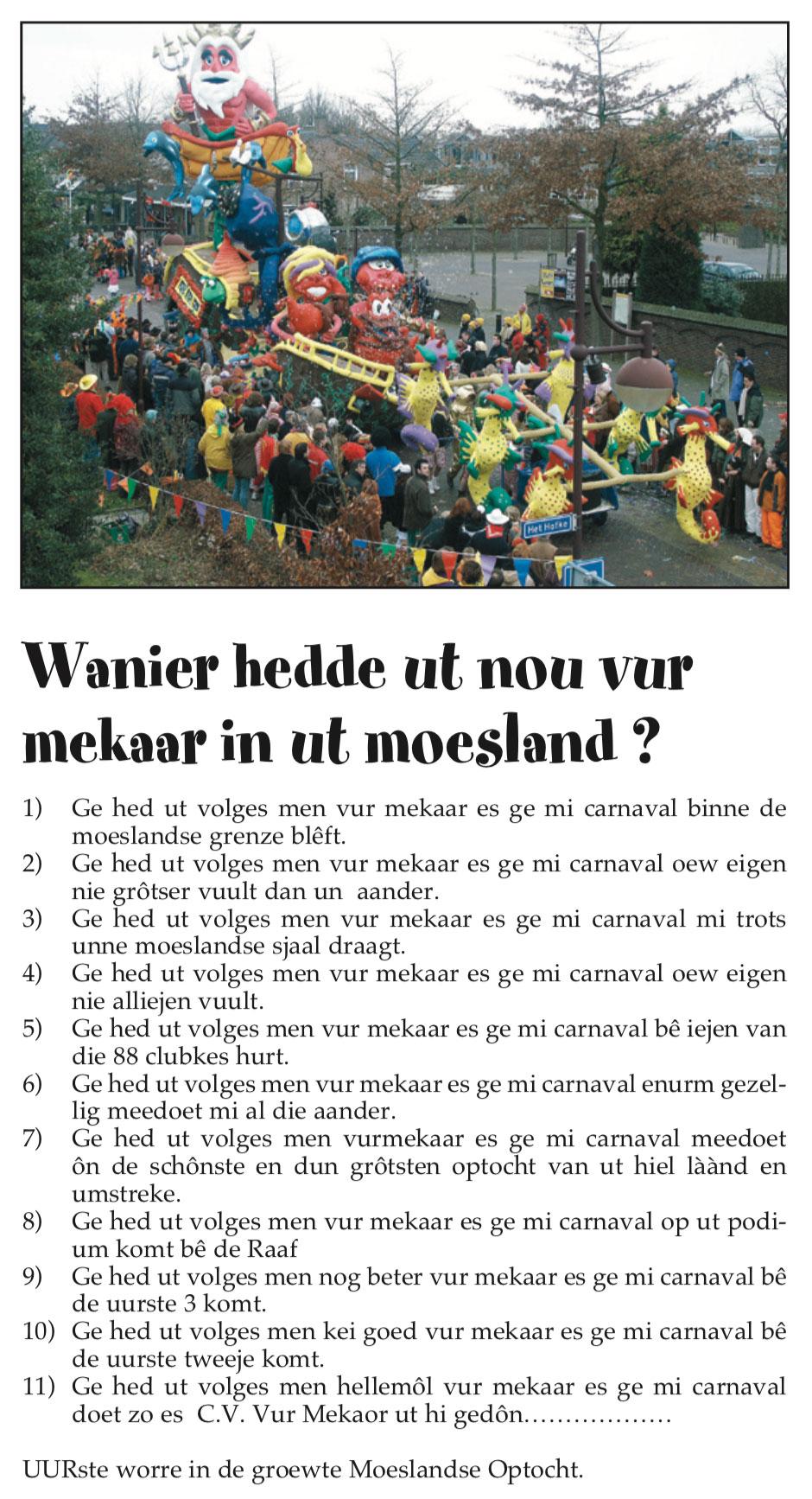 Stukje uit de carnavalskrant van Vur Mekoar - 2007