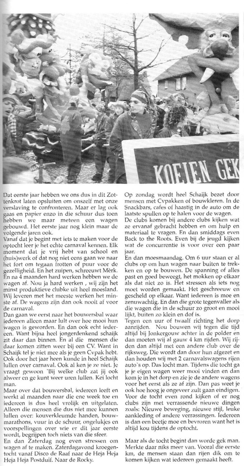 Stukje uit de carnavalskrant van Zot Gefrot - 1998