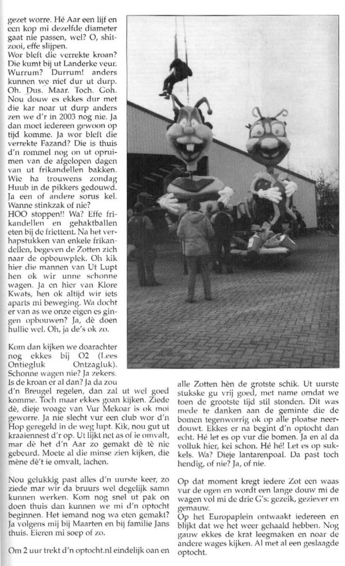 Stukje uit de carnavalskrant van Zot Gefrot - 2002