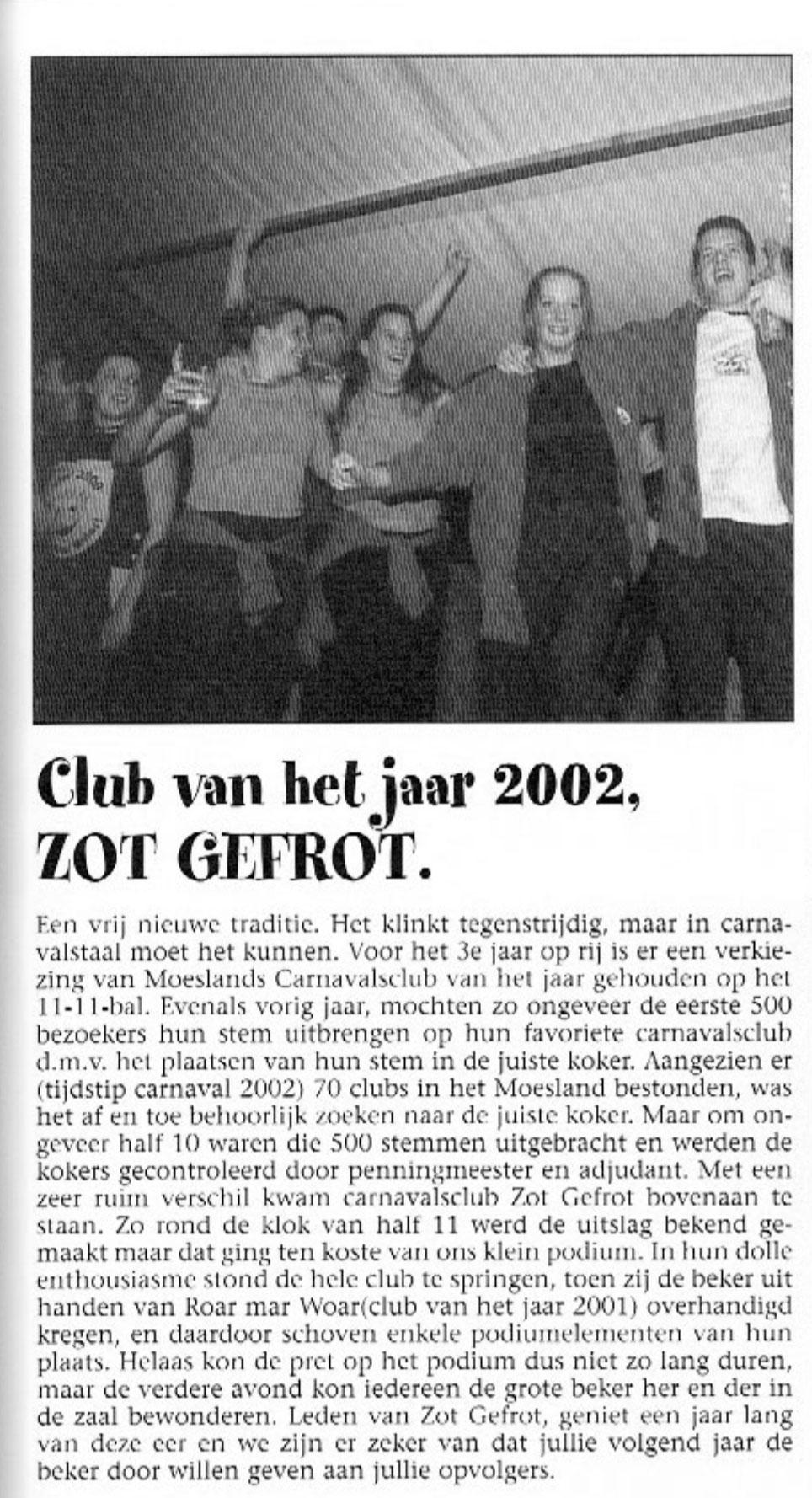 Stukje uit de carnavalskrant van Zot Gefrot - 2003