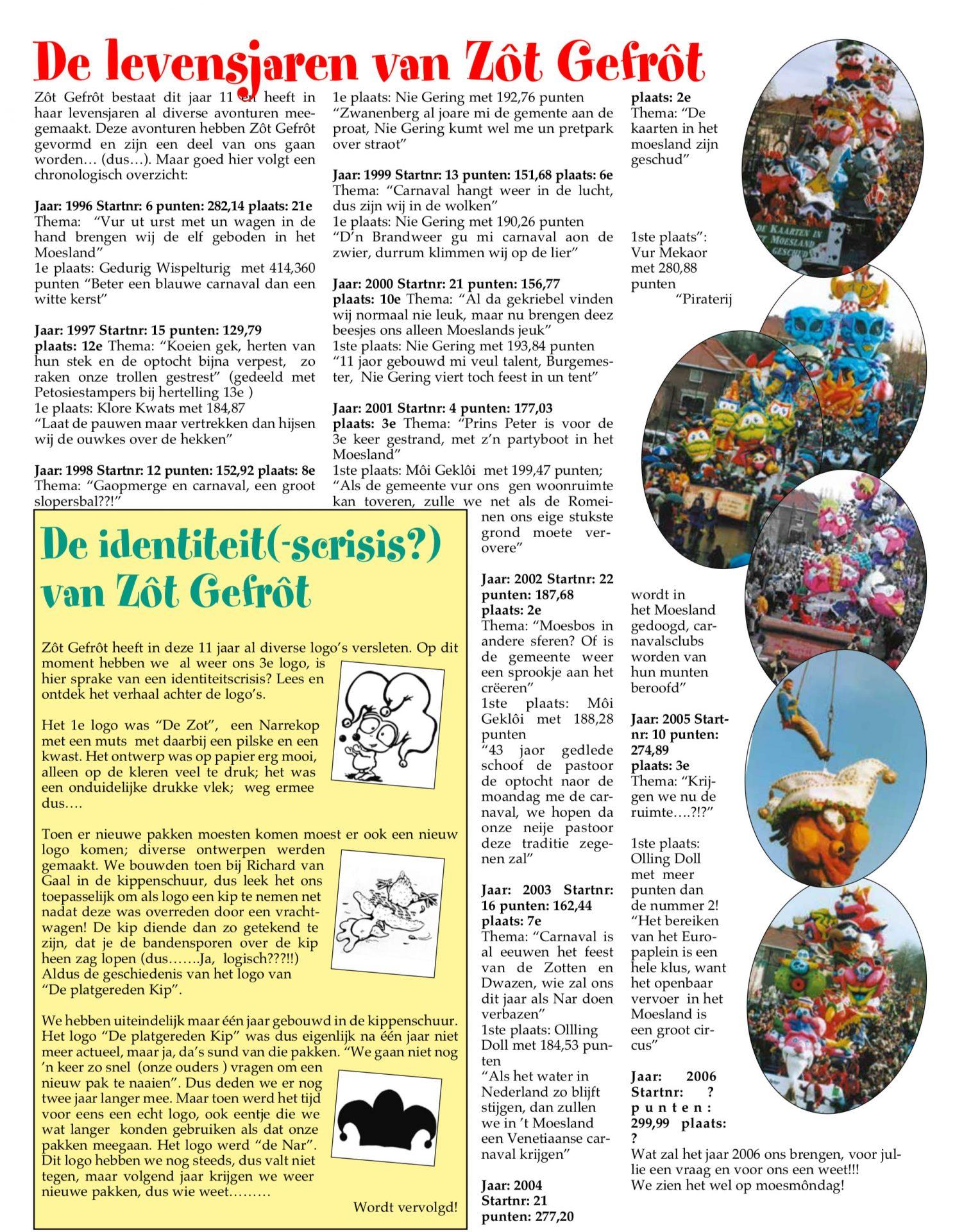 Stukje uit de carnavalskrant van Zot Gefrot - 2006