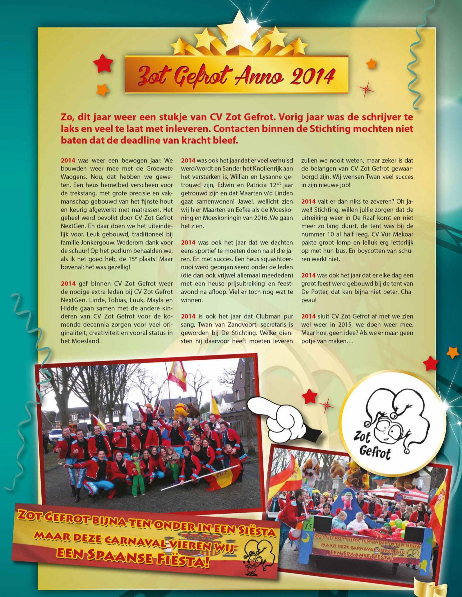 Stukje uit de carnavalskrant van Zot Gefrot - 2015