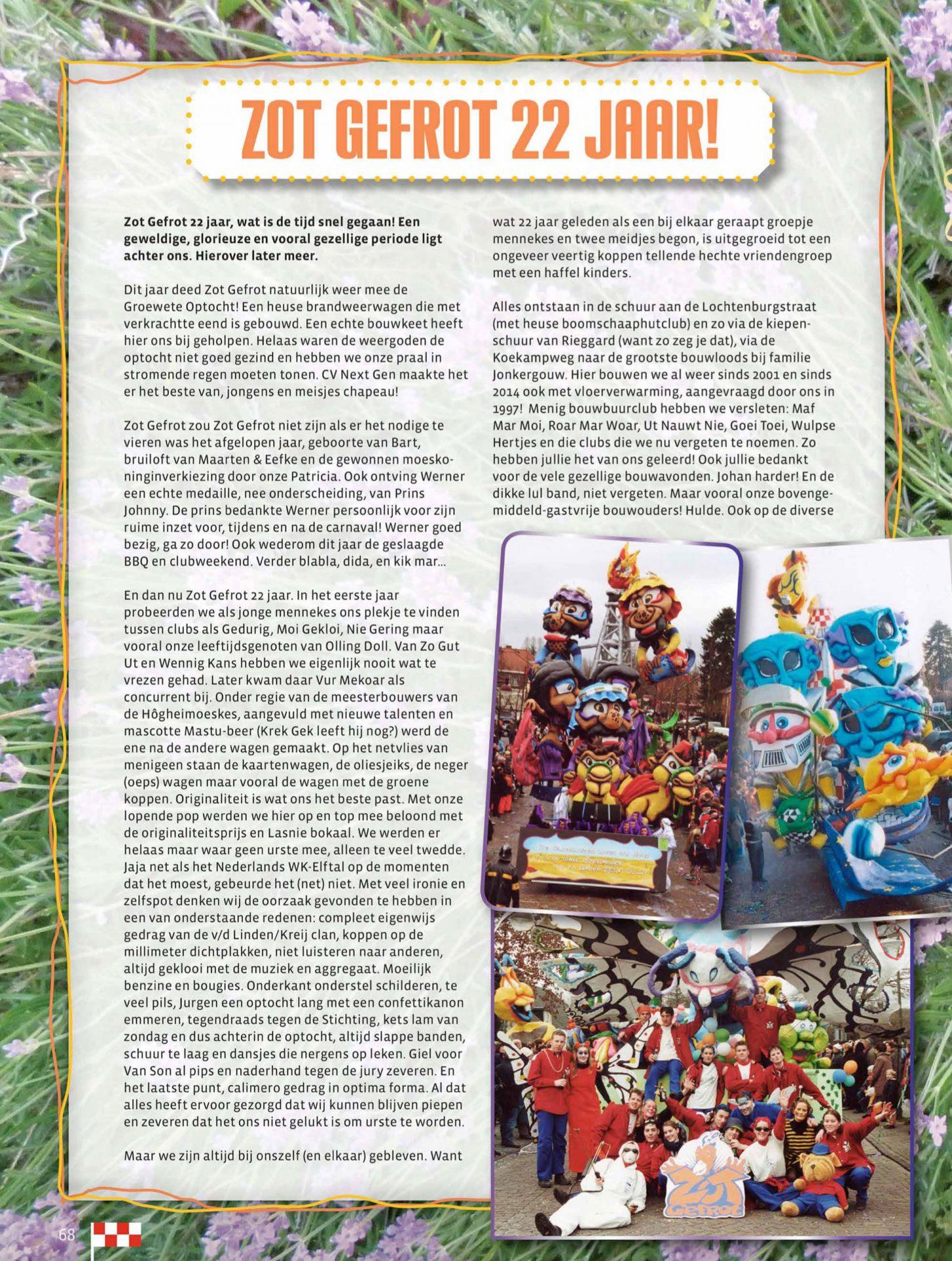 Stukje uit de carnavalskrant van Zot Gefrot - 2017