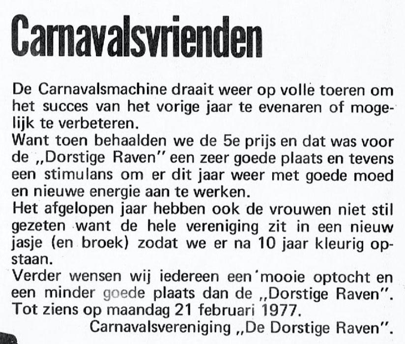 Stukje uit de carnavalskrant van de Dorstige Raven - 1977