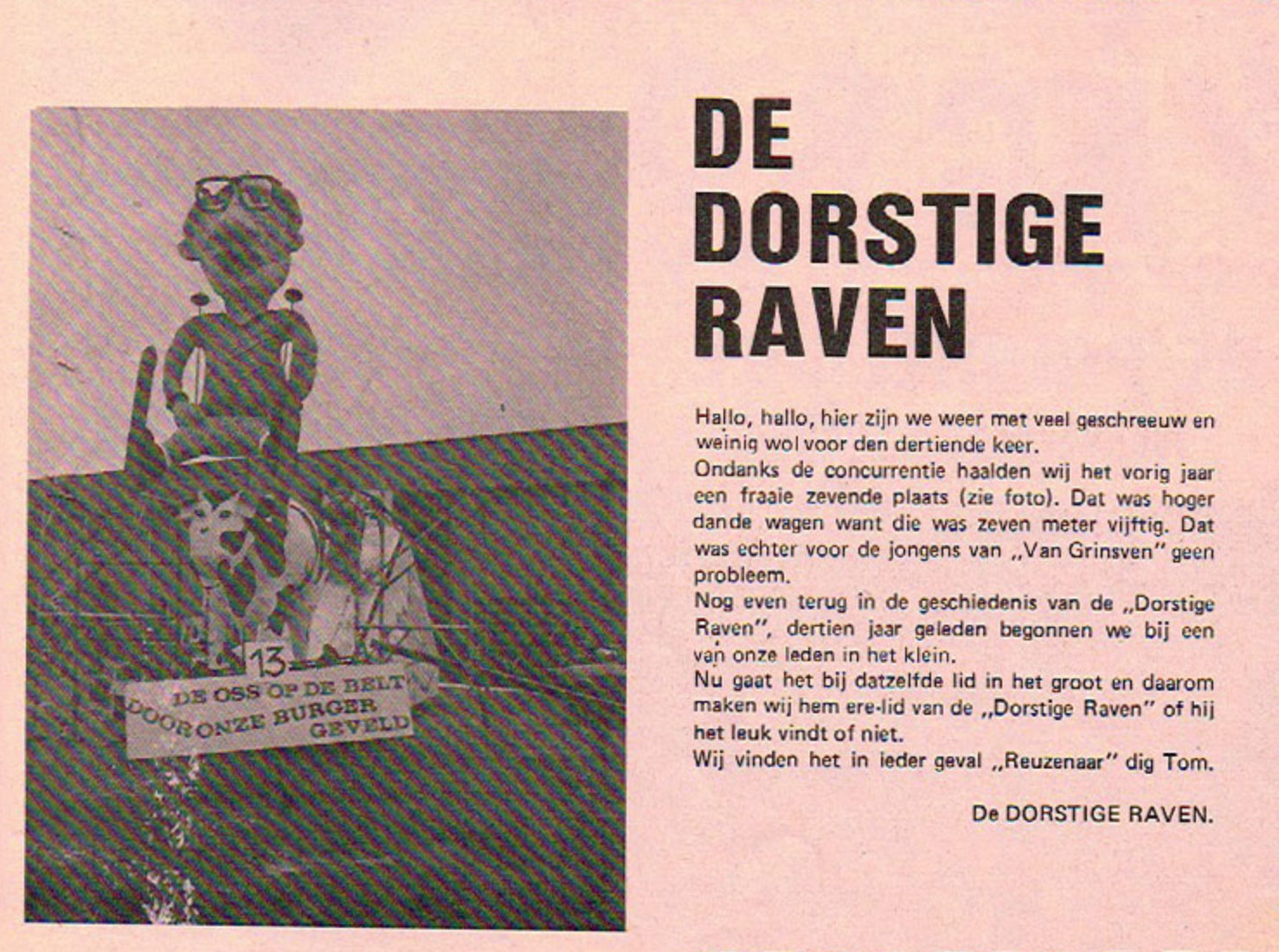 Stukje uit de carnavalskrant van de Dorstige Raven - 1980