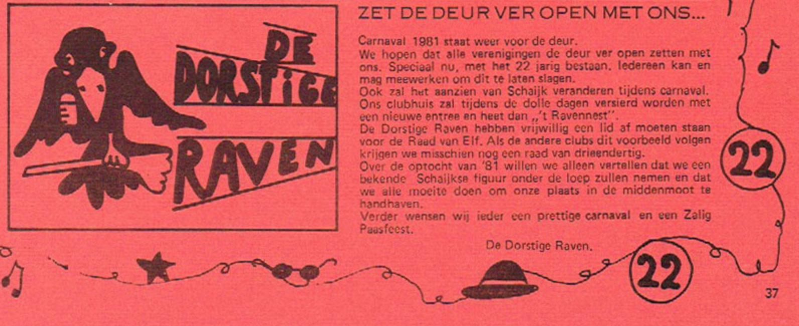 Stukje uit de carnavalskrant van de Dorstige Raven - 1981