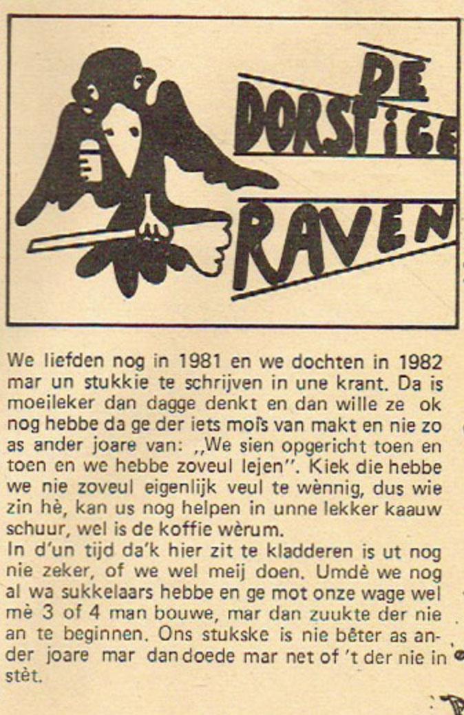 Stukje uit de carnavalskrant van de Dorstige Raven - 1982