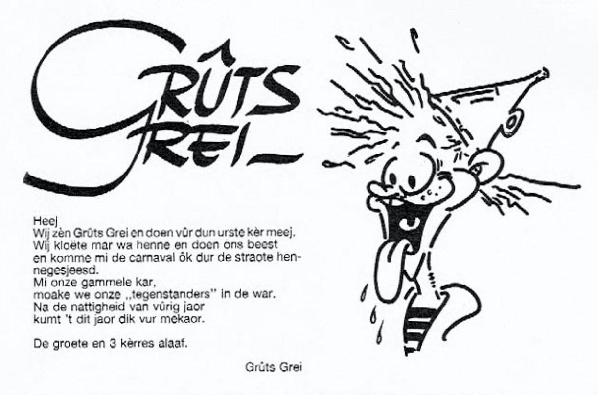 Stukje uit de carnavalskrant van Gruts Grei - 1988