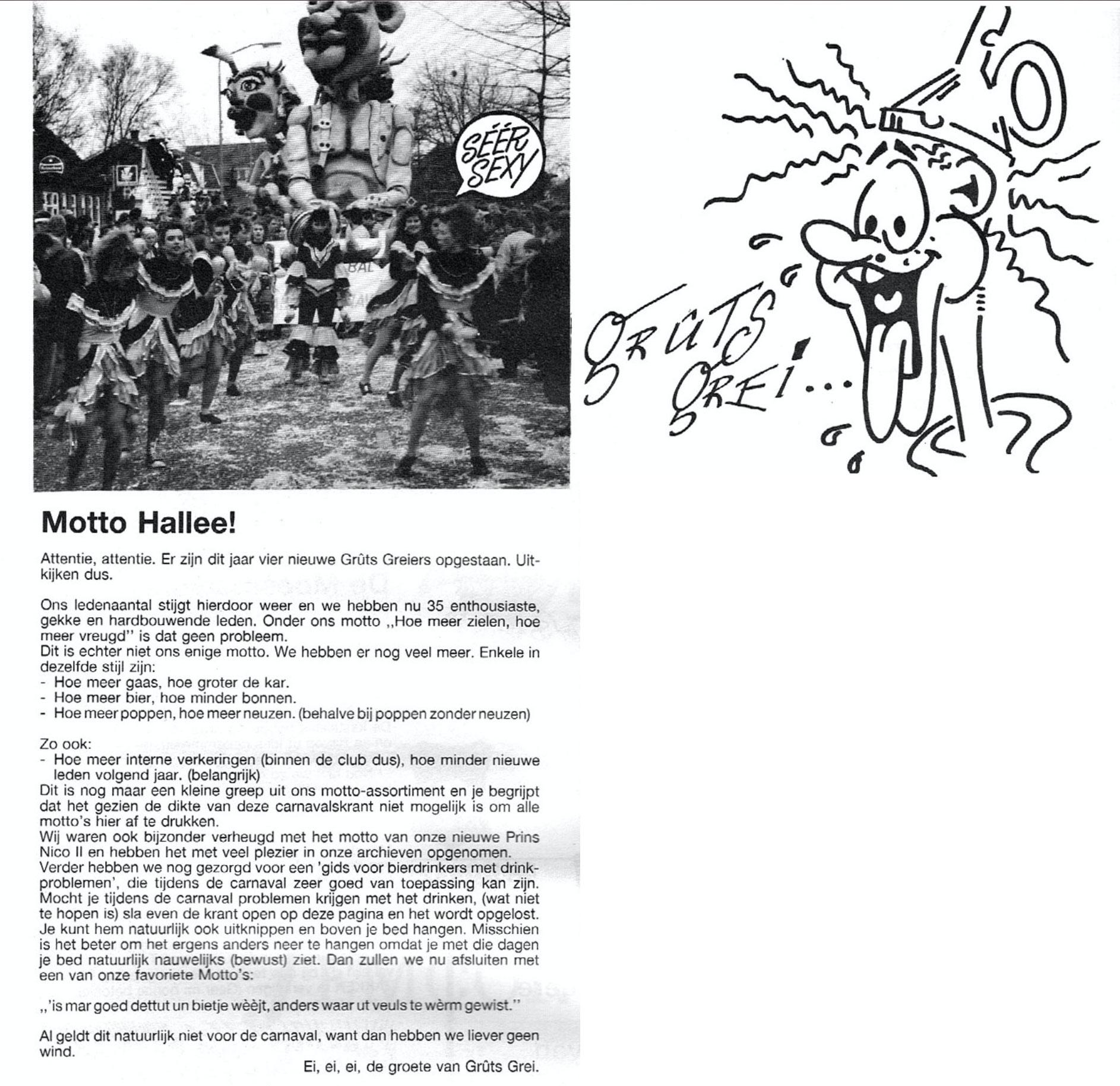 Stukje uit de carnavalskrant van Gruts Grei - 1991