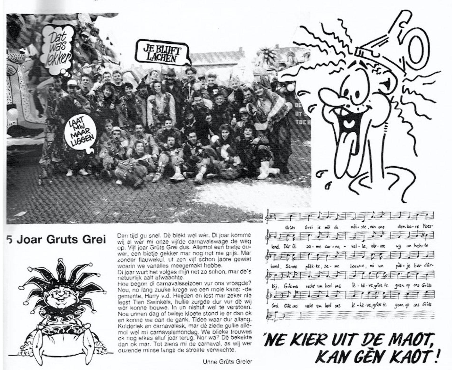 Stukje uit de carnavalskrant van Gruts Grei - 1992
