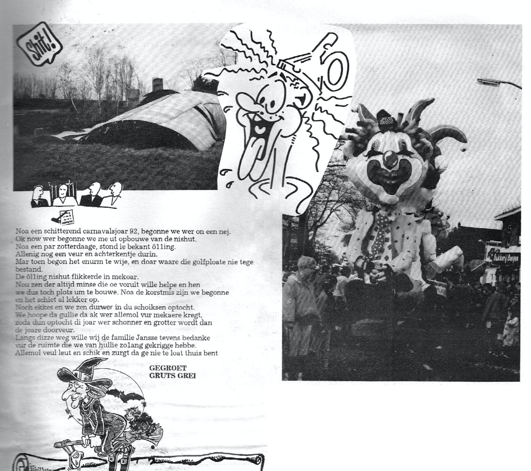Stukje uit de carnavalskrant van Gruts Grei - 1993