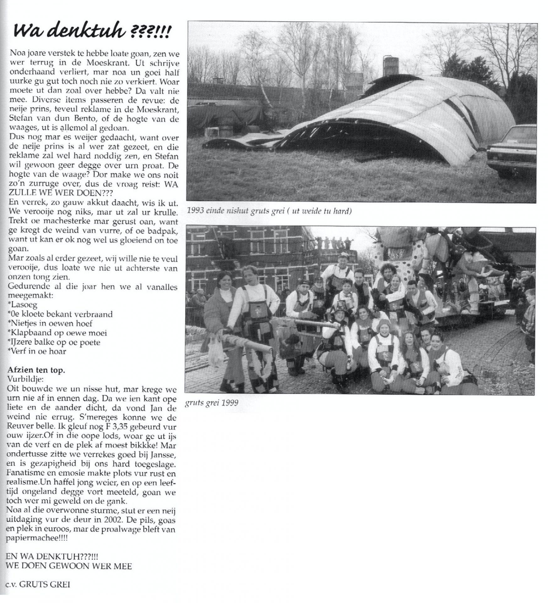 Stukje uit de carnavalskrant van Gruts Grei - 2002
