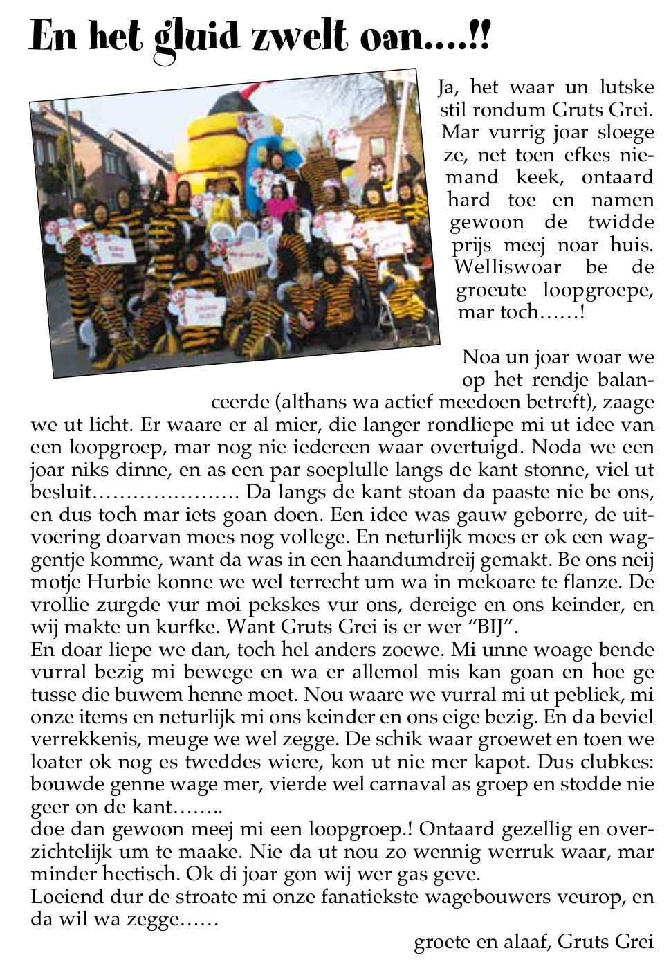 Stukje uit de carnavalskrant van Gruts Grei - 2006