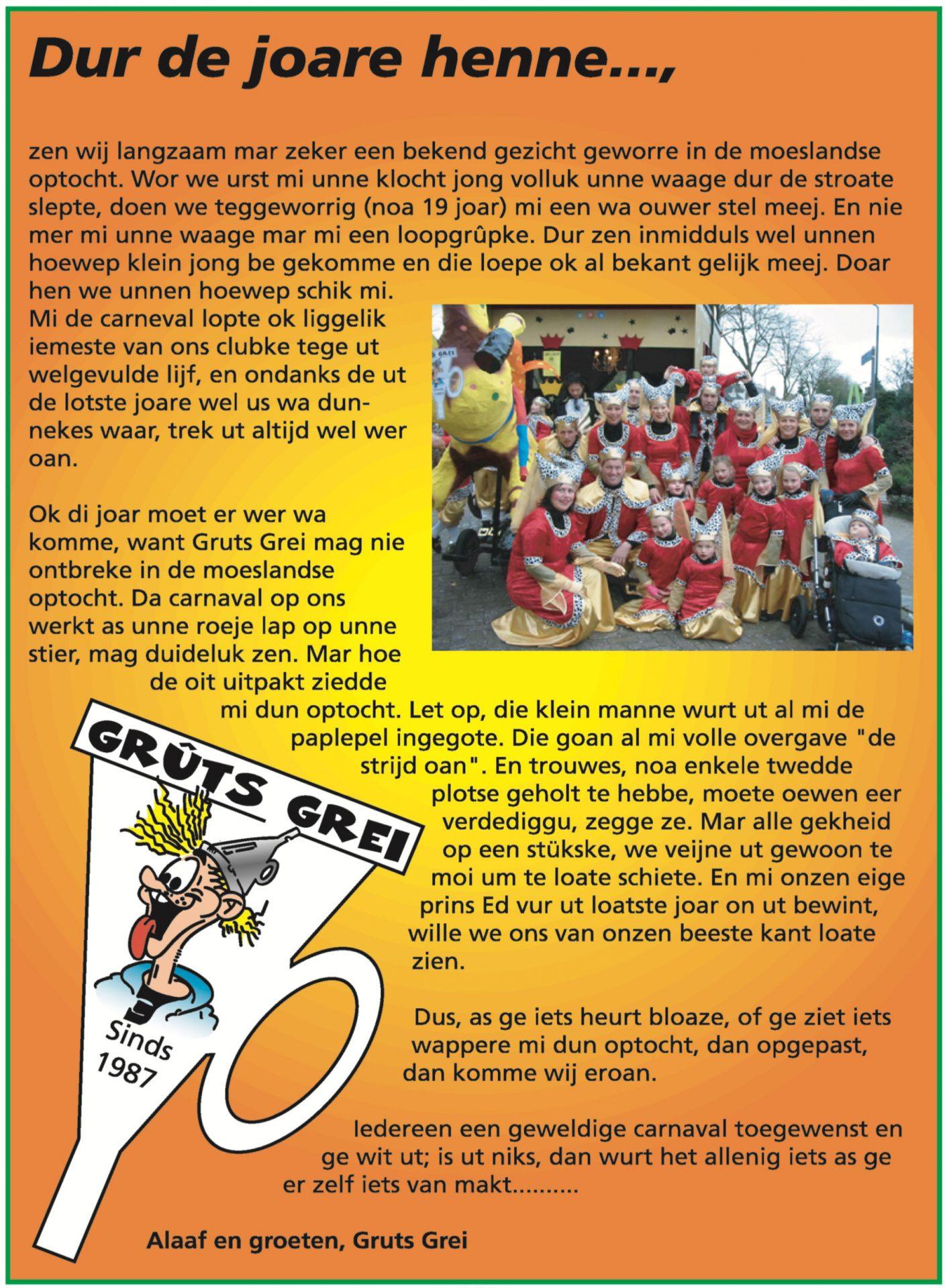 Stukje uit de carnavalskrant van Gruts Grei - 2007