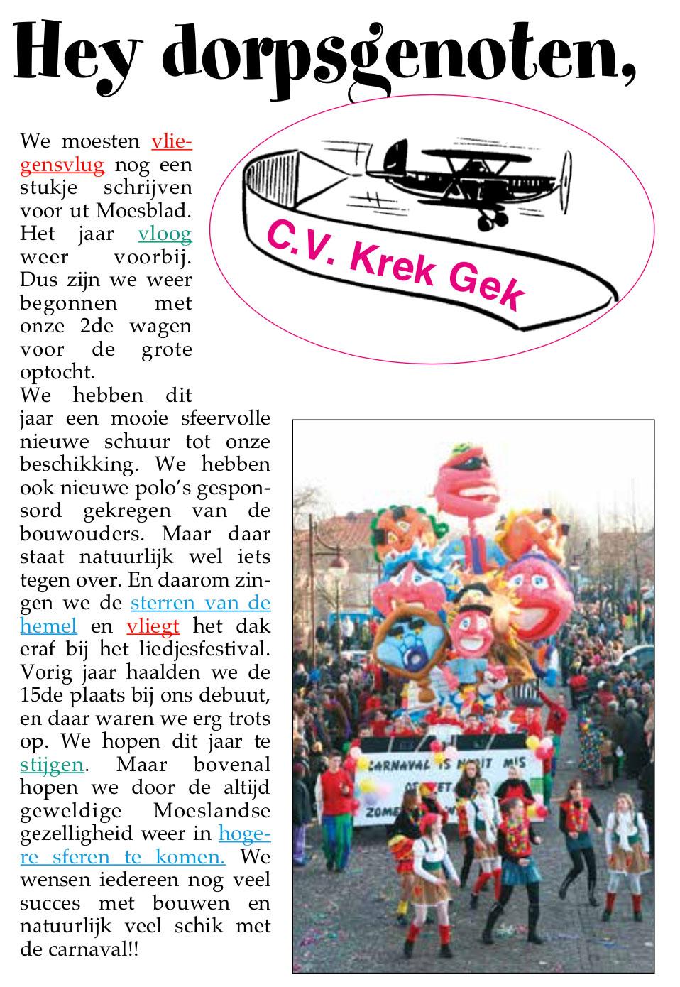 Stukje uit de carnavalskrant van Krek Gek - 2006