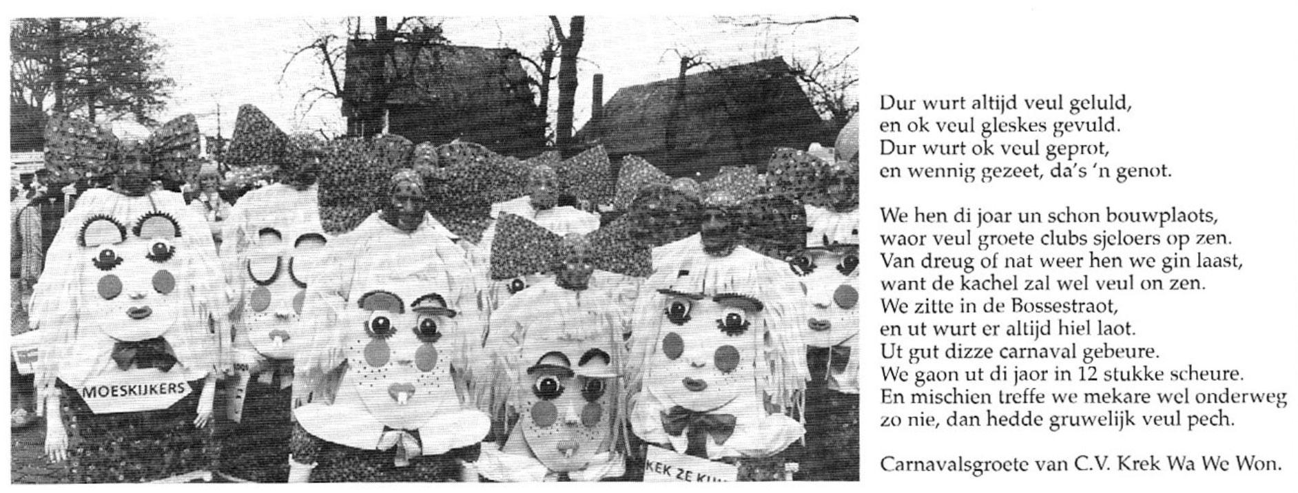 Stukje uit de carnavalskrant van Krek Wa We Won - 1998