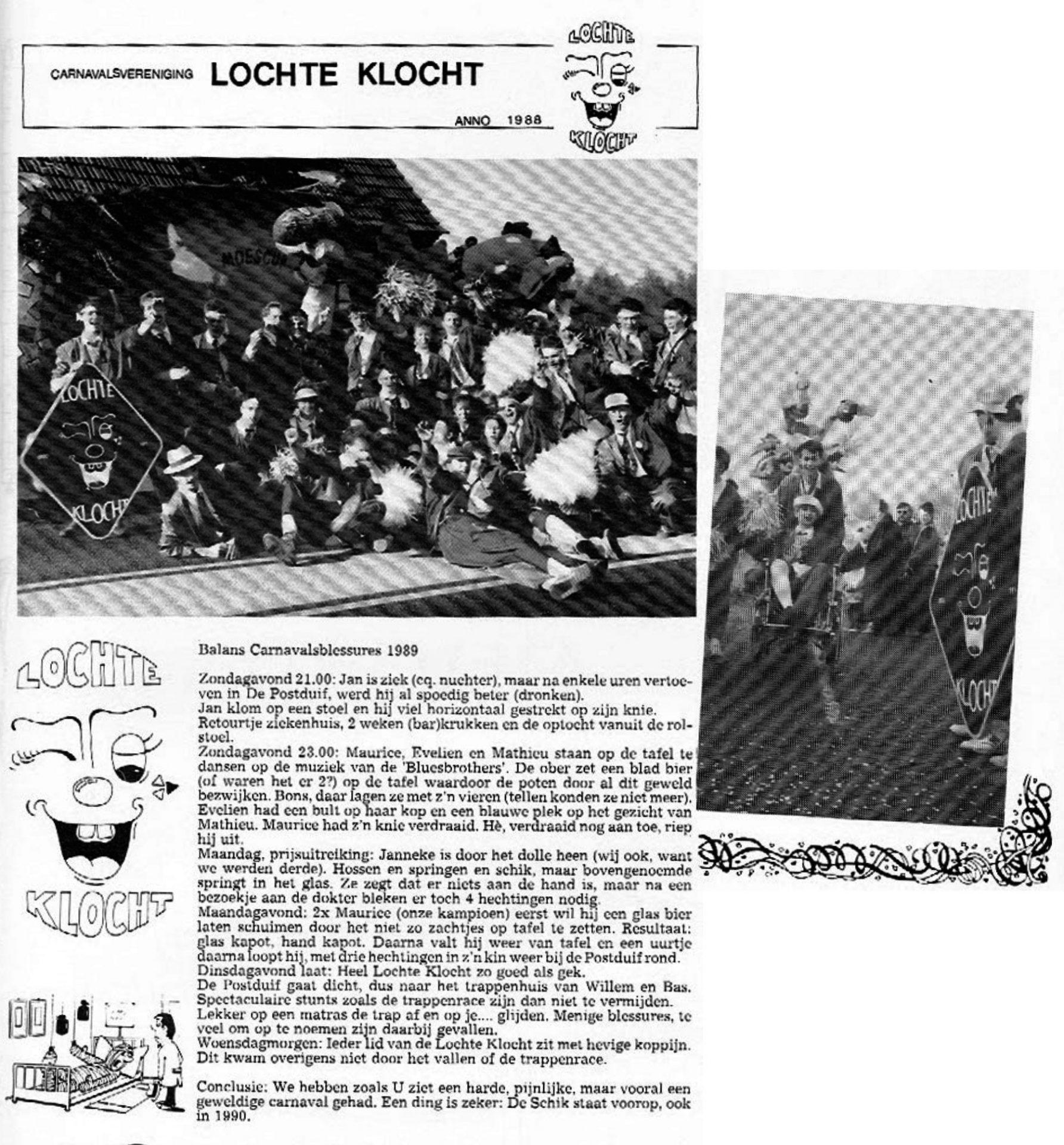 Stukje uit de carnavalskrant van Lochte Klocht - 1990