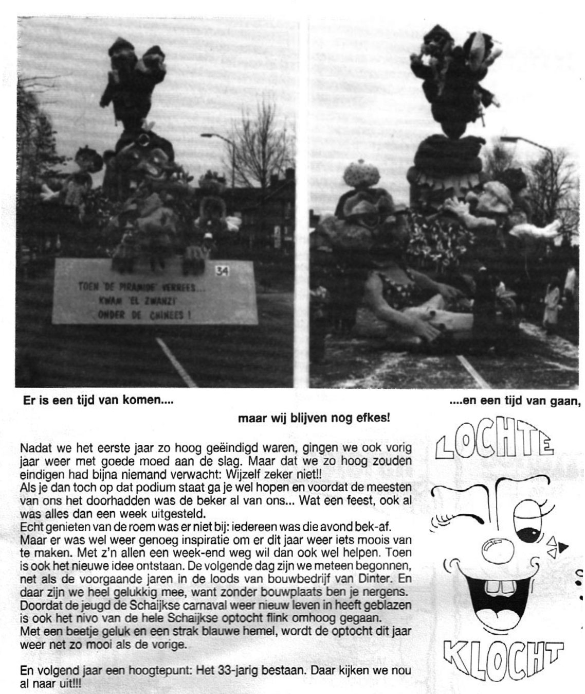 Stukje uit de carnavalskrant van Lochte Klocht - 1991