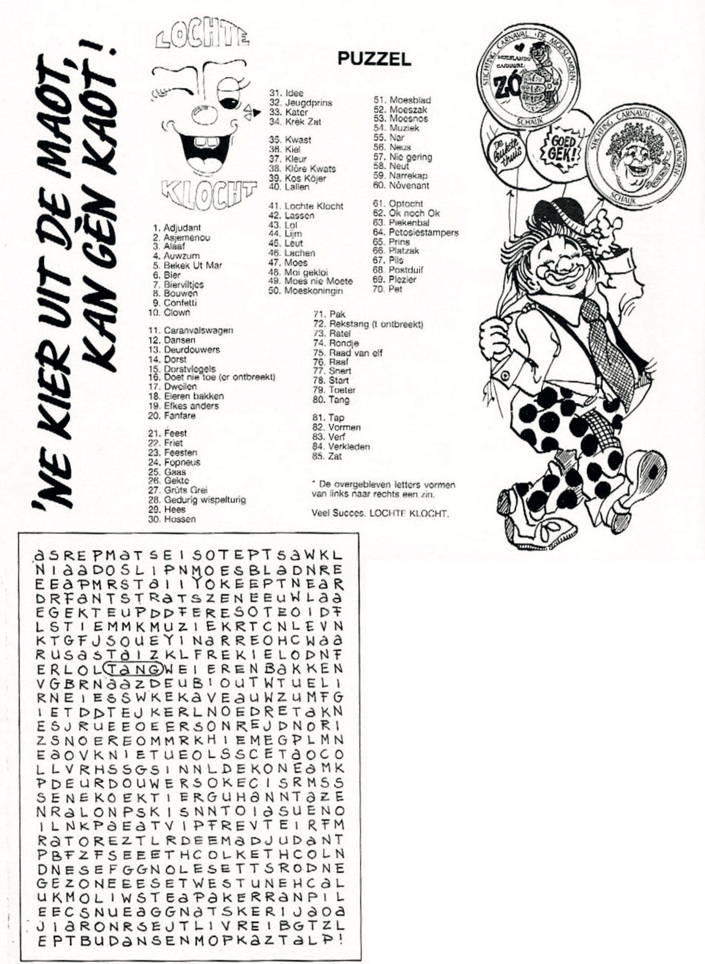 Stukje uit de carnavalskrant van Lochte Klocht - 1992