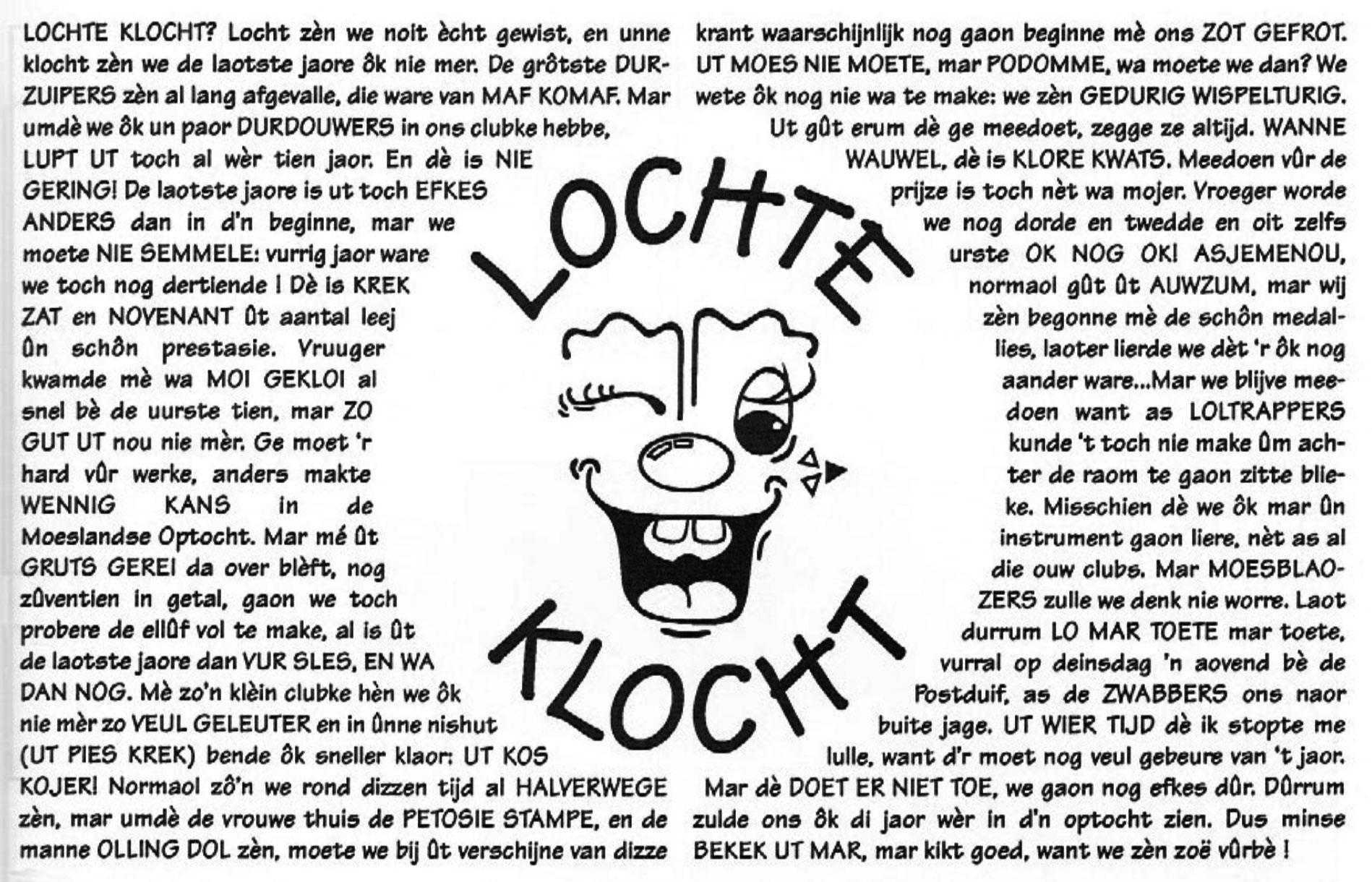 Stukje uit de carnavalskrant van Lochte Klocht - 1997