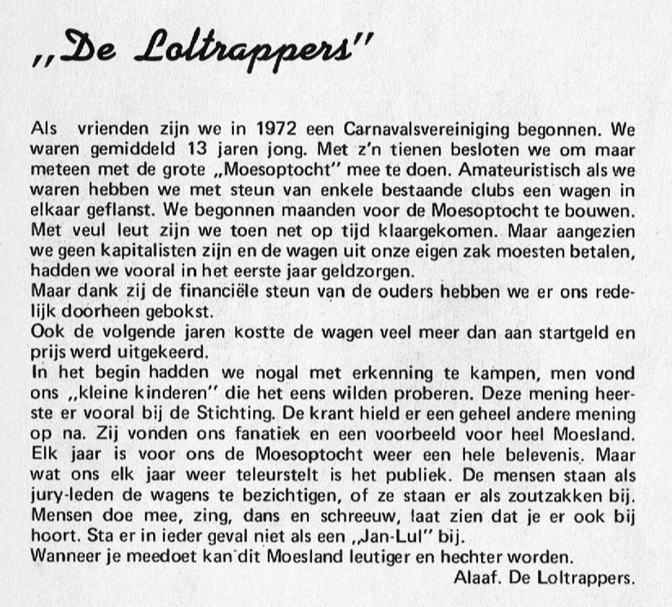 Stukje uit de carnavalskrant van de Loltrappers - 1976