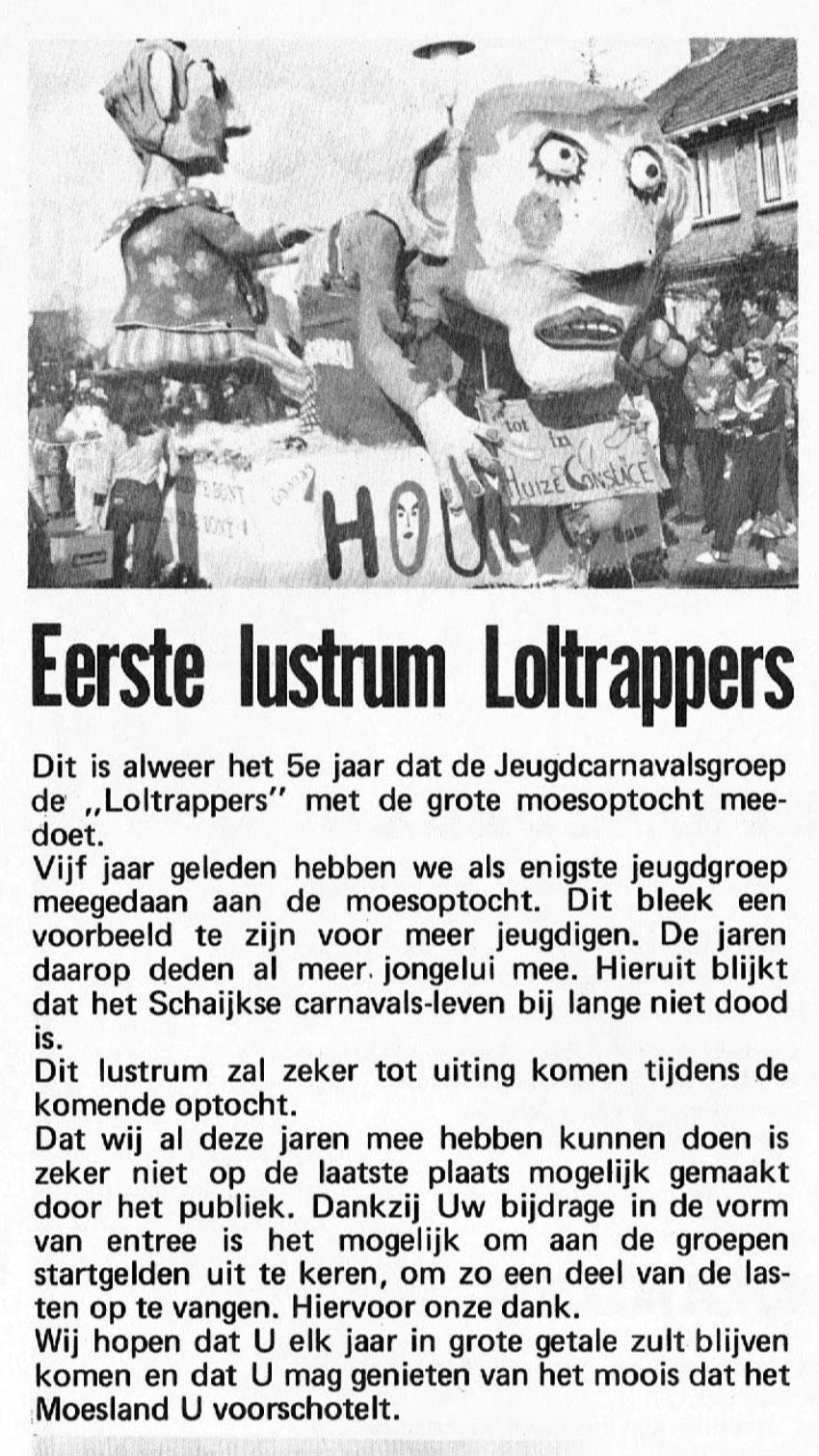 Stukje uit de carnavalskrant van de Loltrappers - 1977