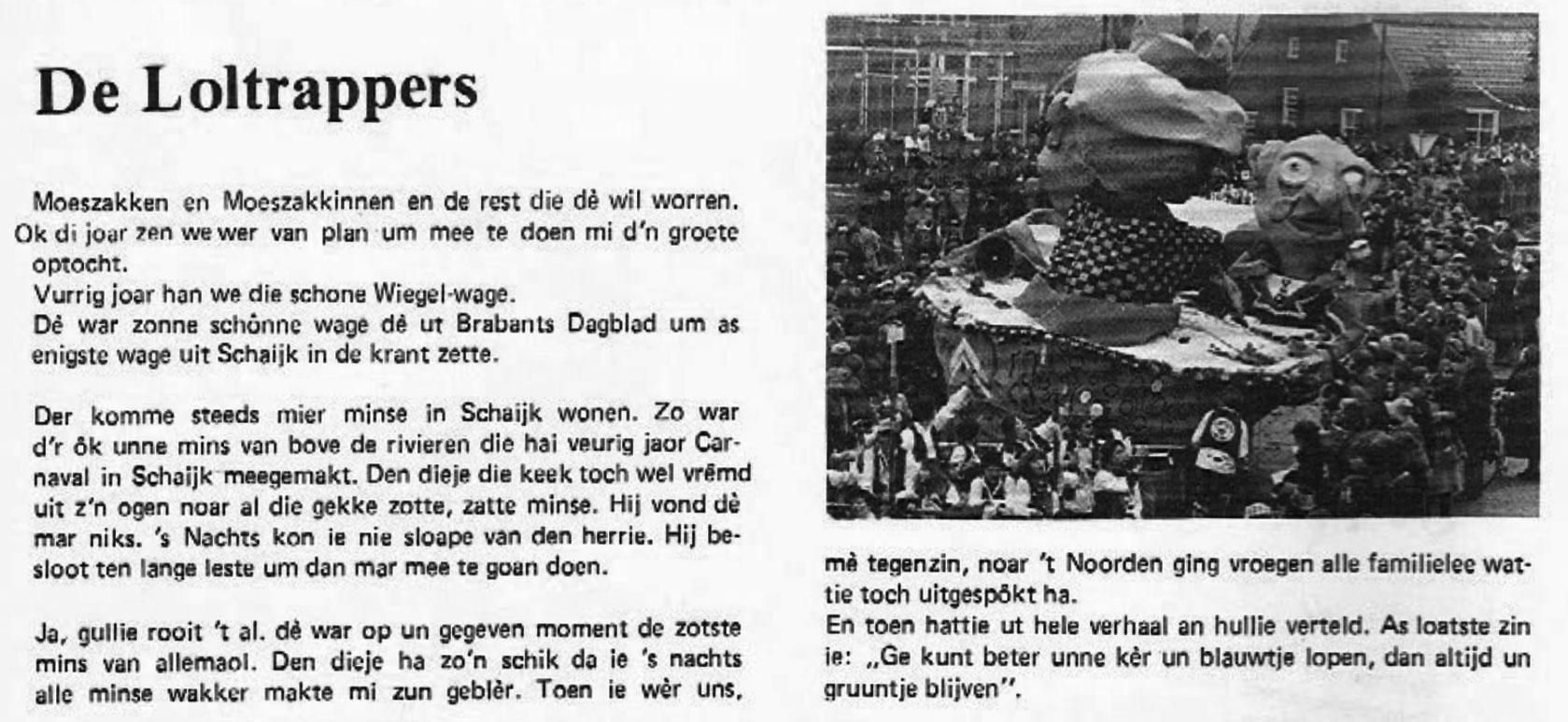 Stukje uit de carnavalskrant van de Loltrappers - 1979