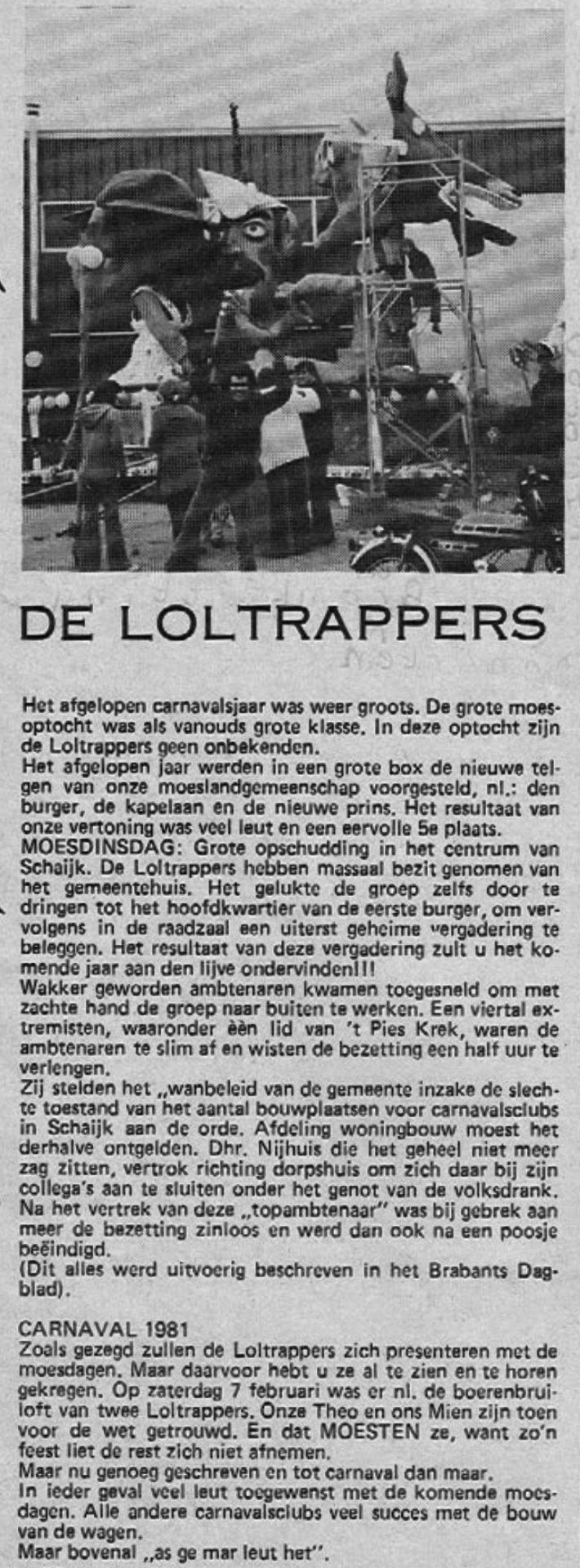 Stukje uit de carnavalskrant van de Loltrappers - 1981