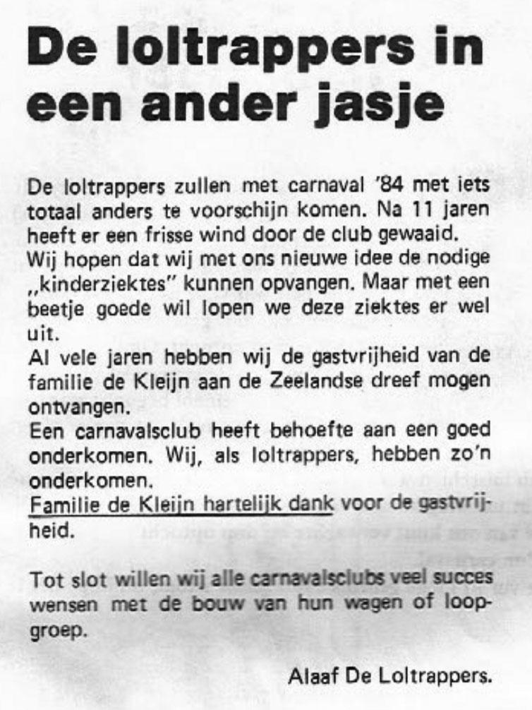 Stukje uit de carnavalskrant van de Loltrappers - 1984