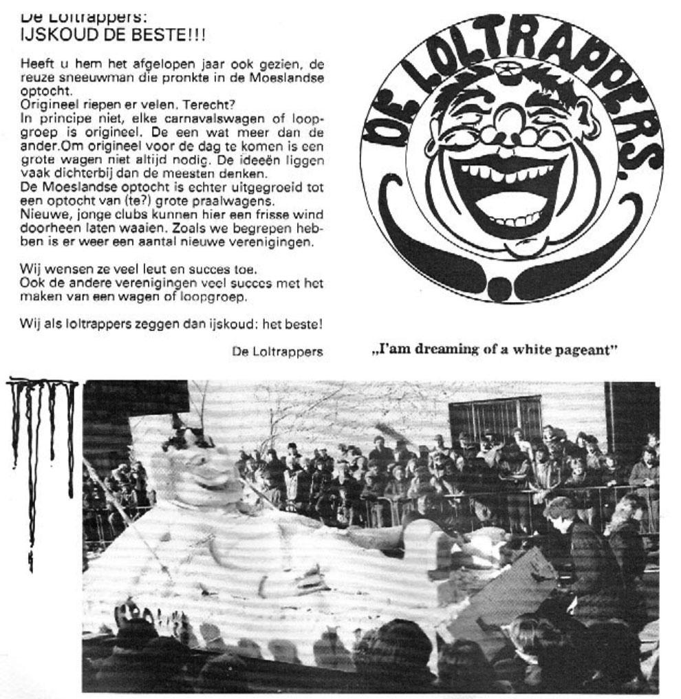 Stukje uit de carnavalskrant van de Loltrappers - 1986