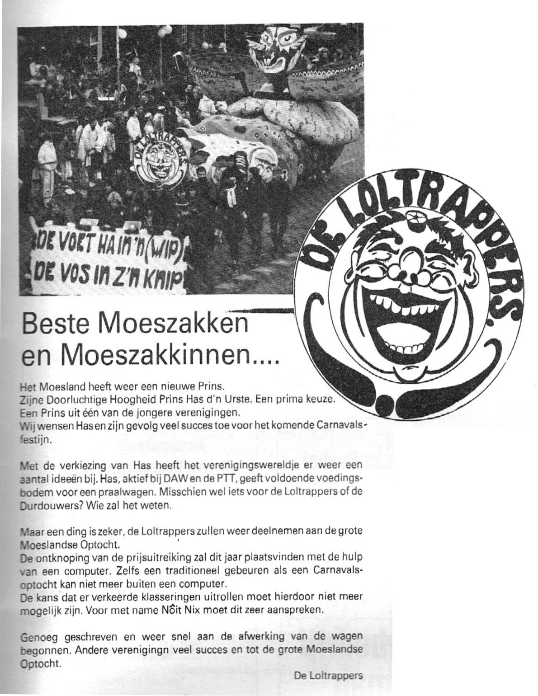 Stukje uit de carnavalskrant van de Loltrappers - 1987