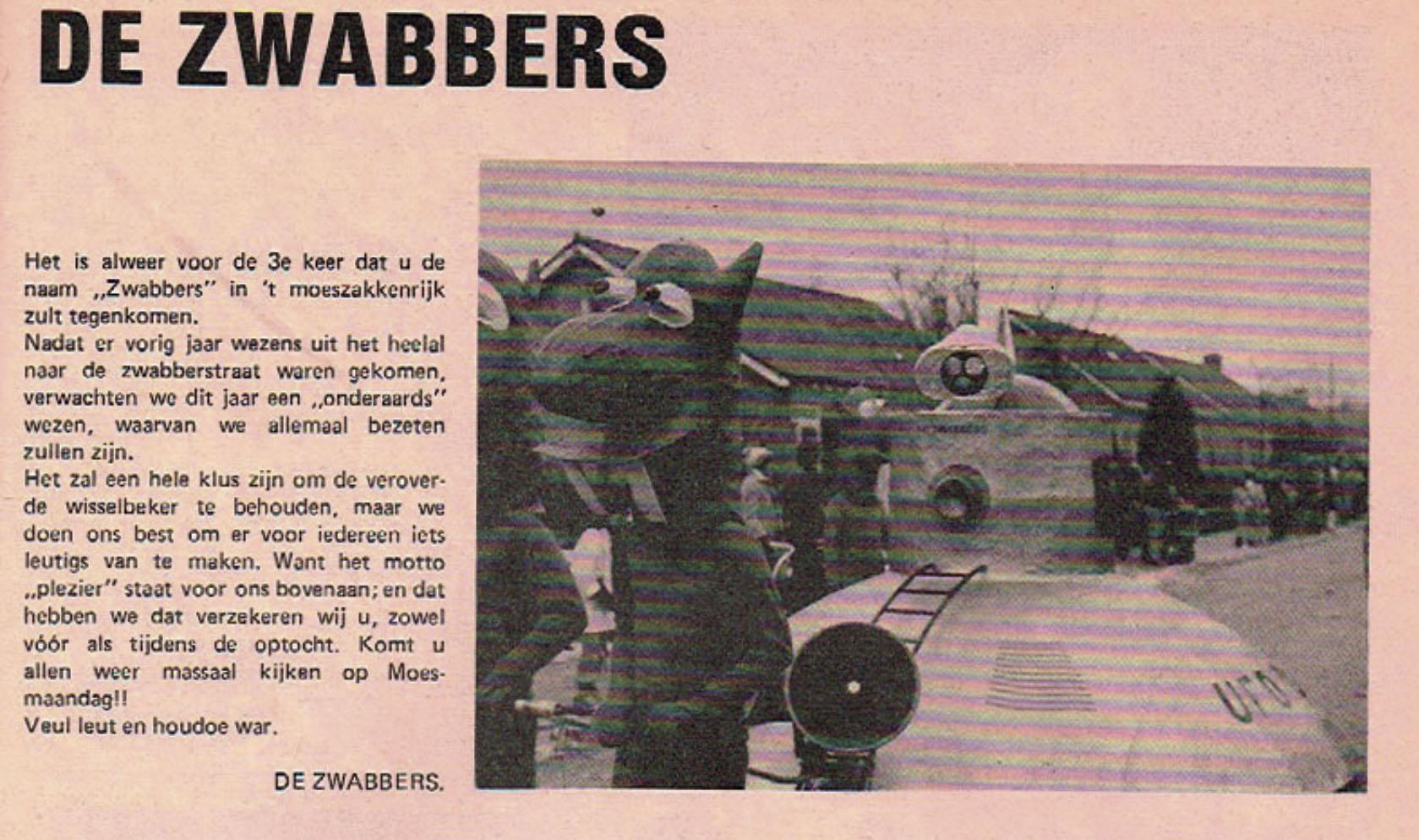 Stukje uit de carnavalskrant van de De Zwabbers - 1980