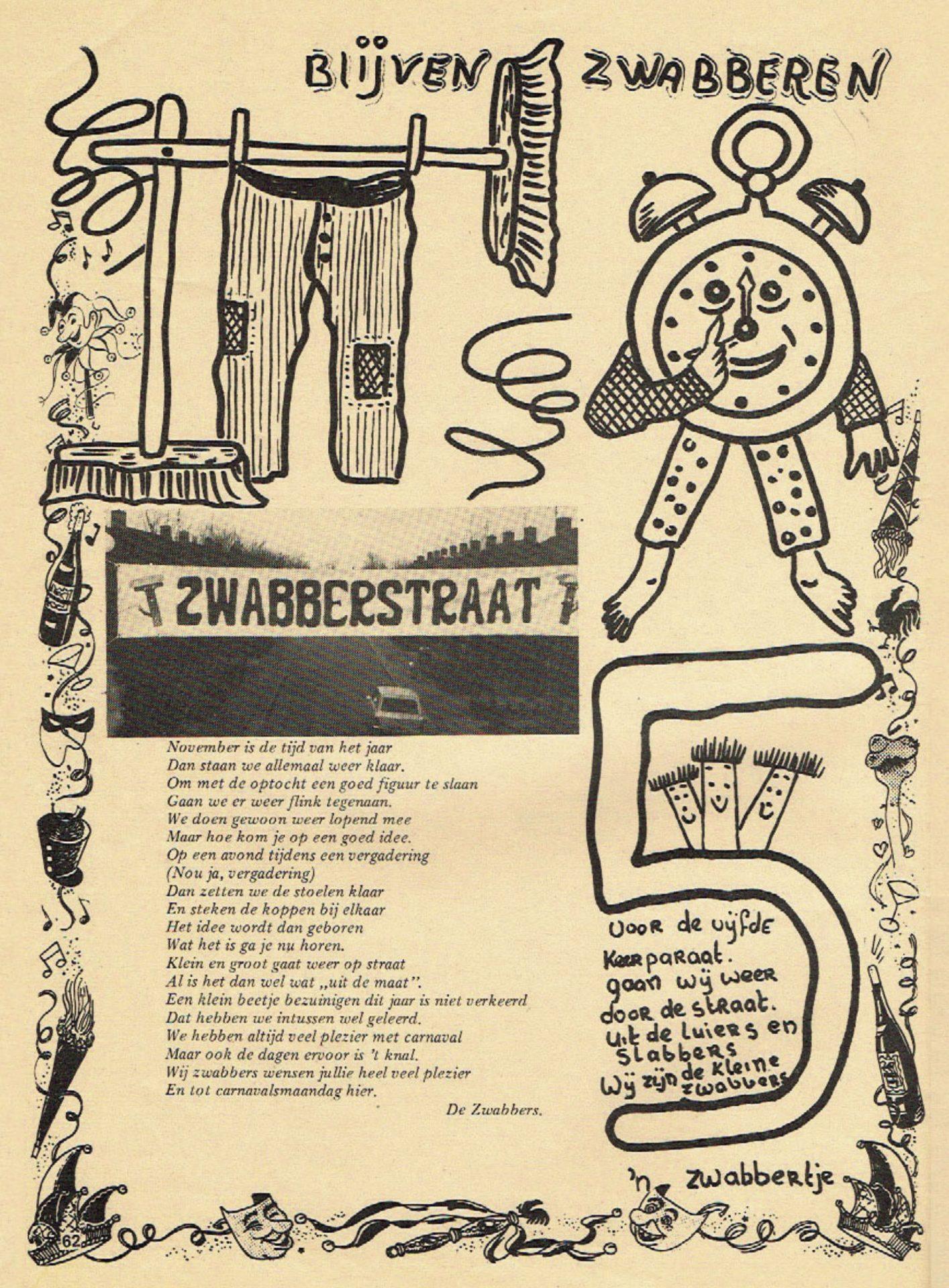 Stukje uit de carnavalskrant van de De Zwabbers - 1982