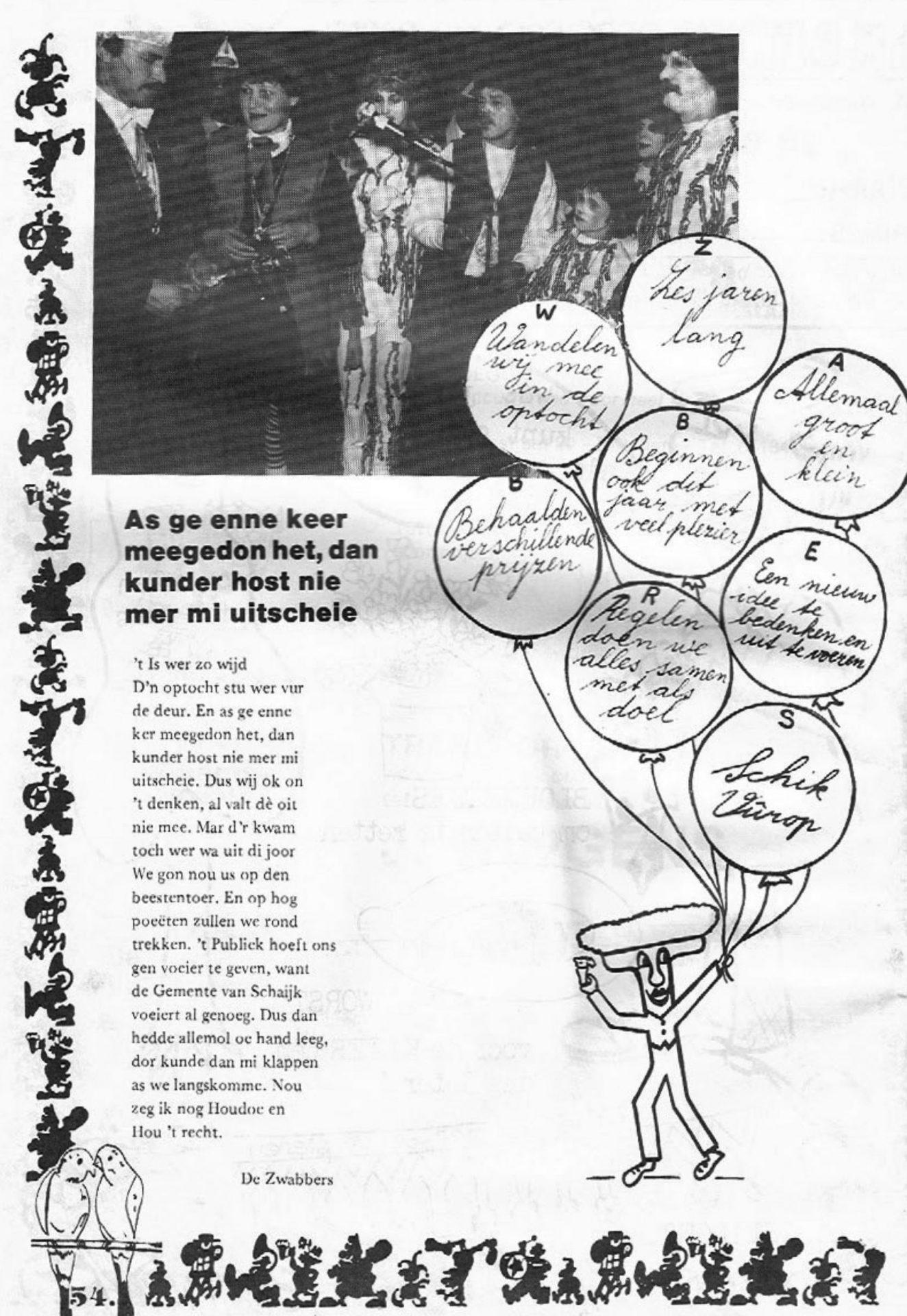 Stukje uit de carnavalskrant van de De Zwabbers - 1984