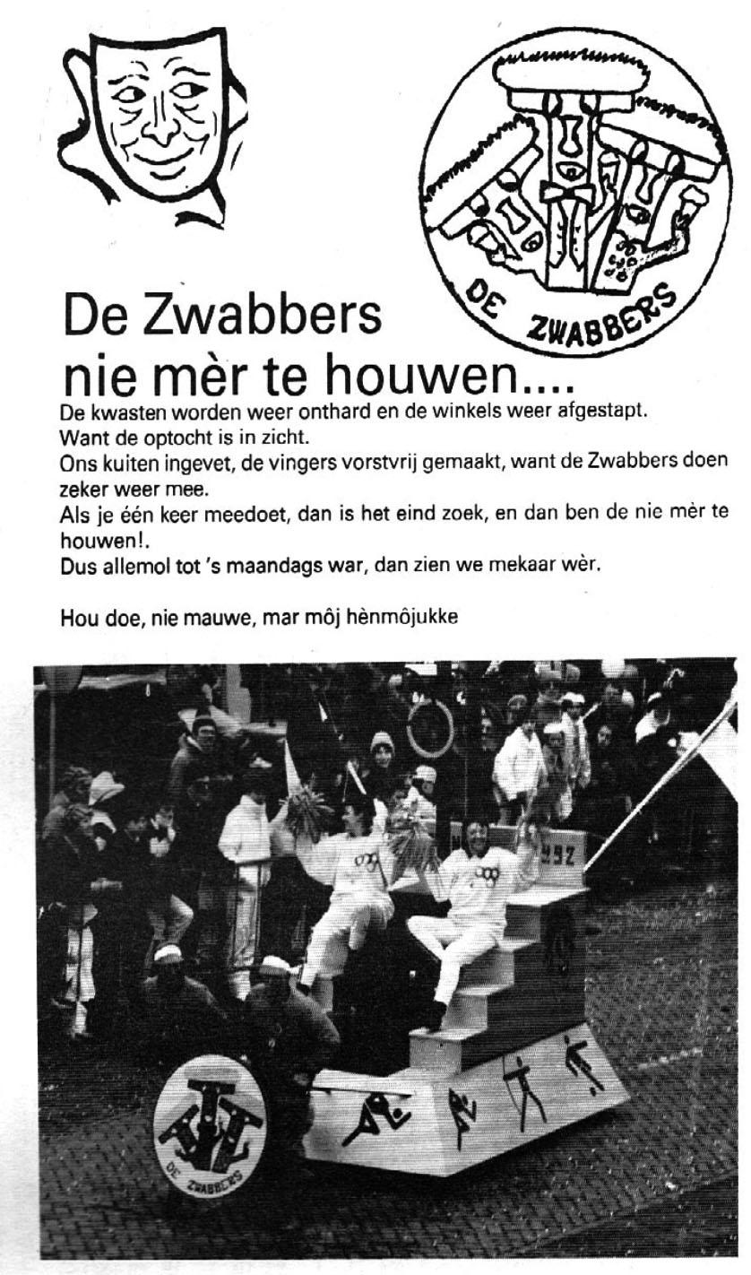 Stukje uit de carnavalskrant van de De Zwabbers - 1987
