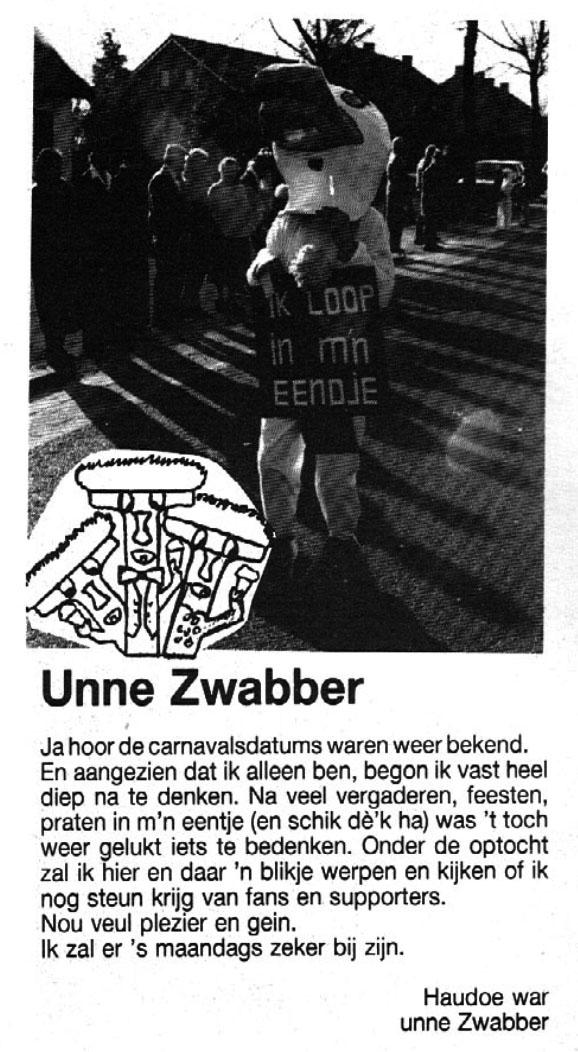 Stukje uit de carnavalskrant van de Unne Zwabber - 1989