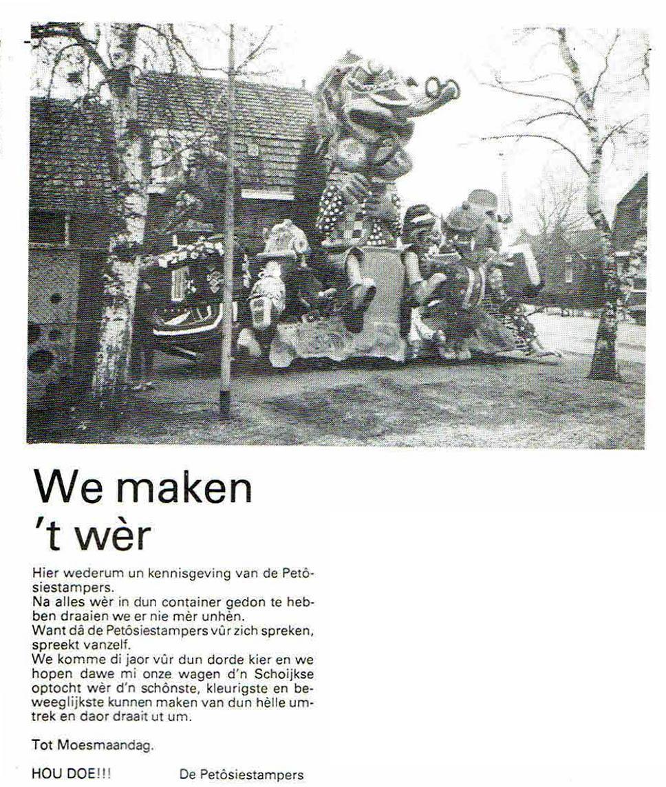 Stukje uit de carnavalskrant van de Petôsiestampers - 1985